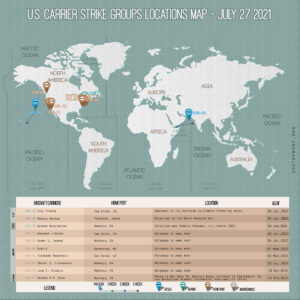 Locations Of US Carrier Strike Groups – July 27, 2021
