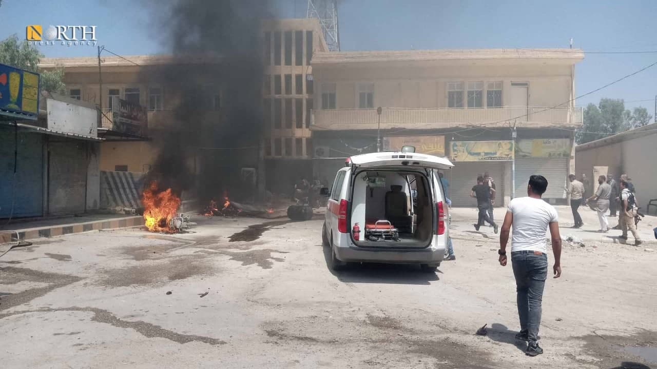In Video: Motorcycle Exploded In Syria's Hasakah, Wounding Civilians