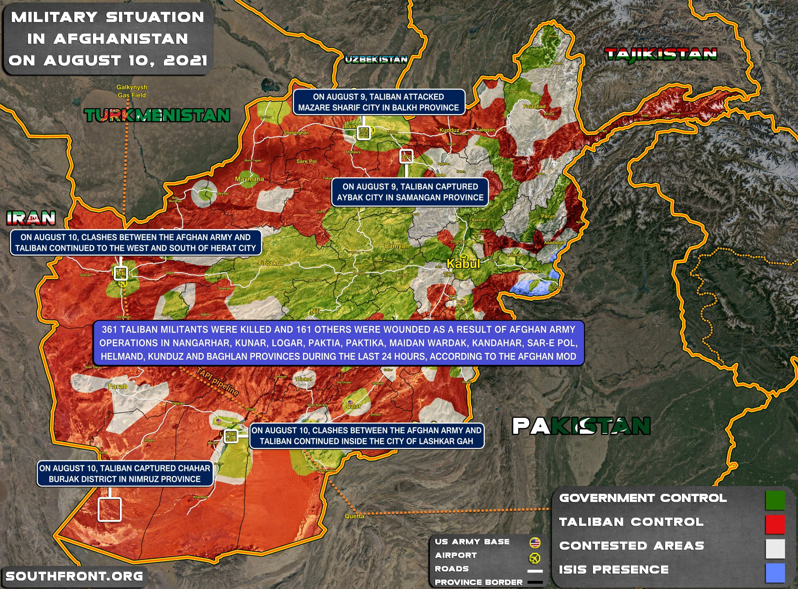 Military Situation In Afghanistan On August 10, 2021 (Map Update)