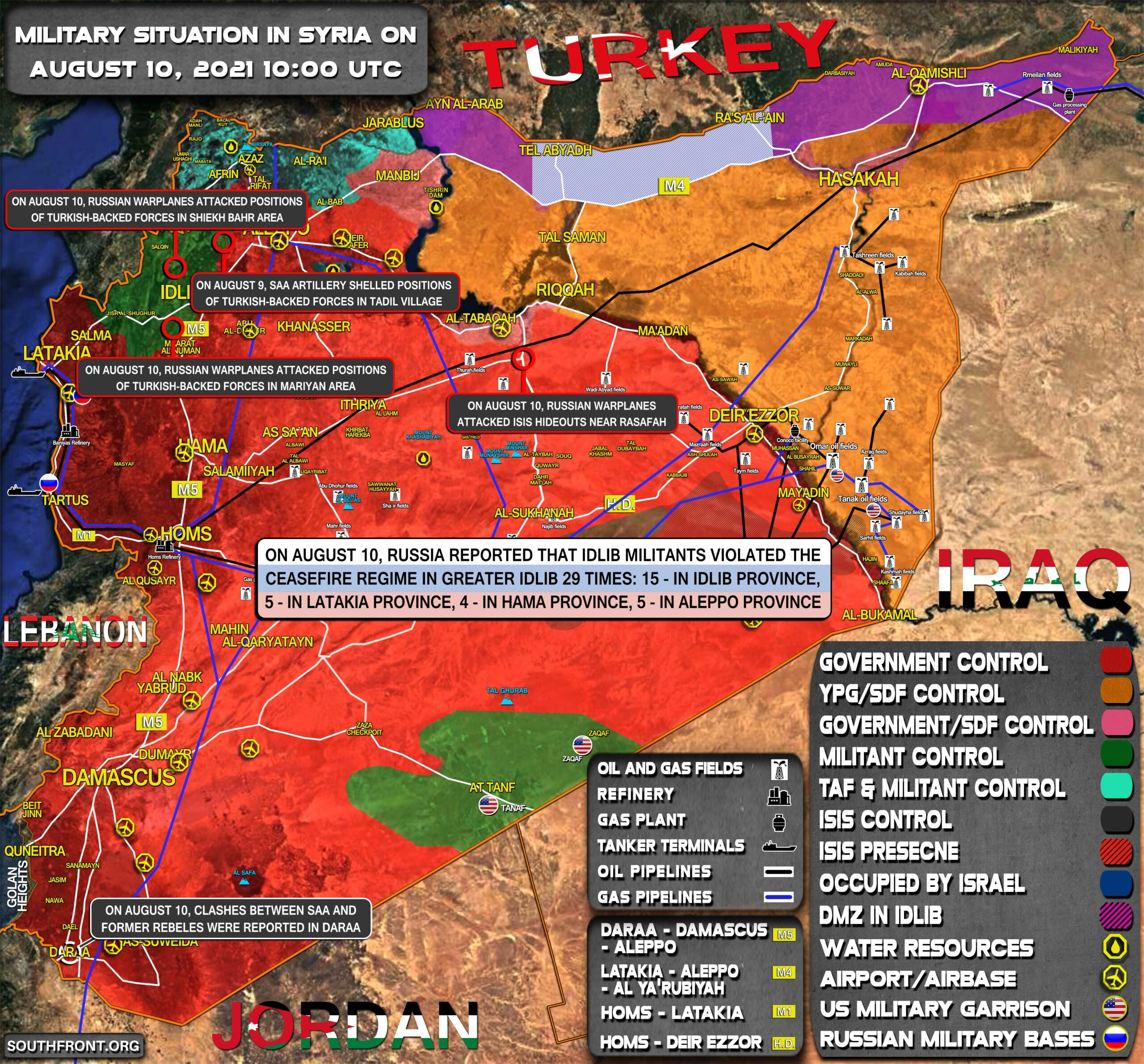 Military Situation In Syria On August 10, 2021 (Map Update)