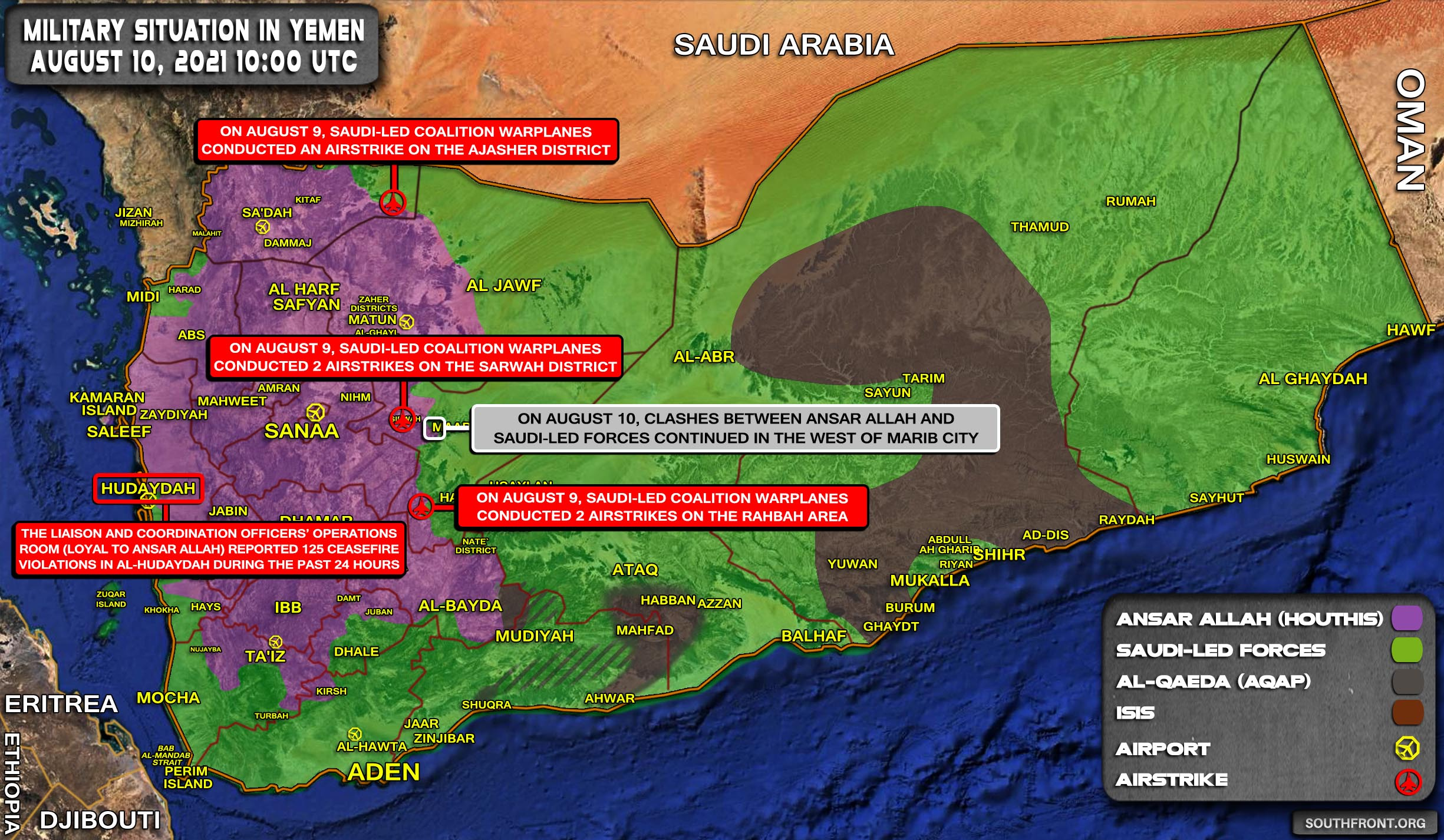Military Situation In Yemen On August 10, 2021 (Map Update)