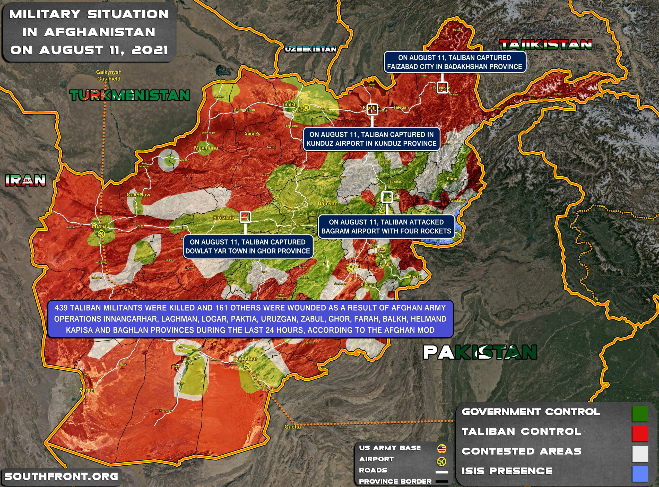 Military Situation In Afghanistan On August 11, 2021 (Map Update)