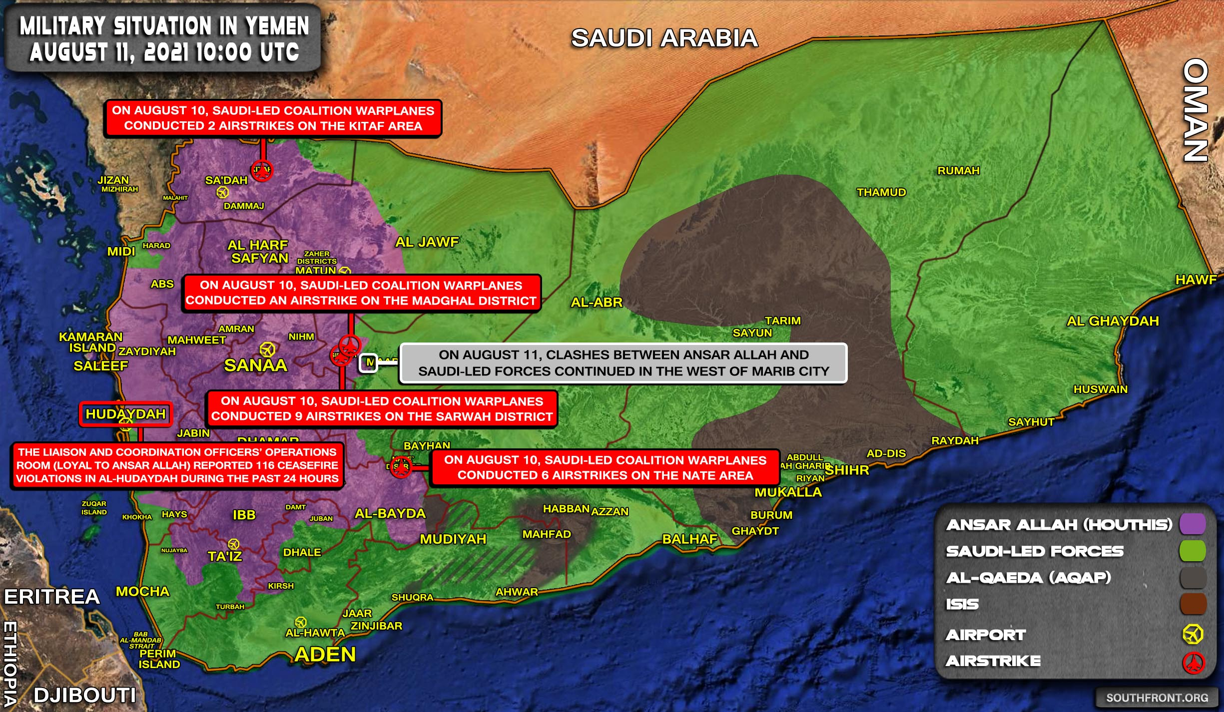 Military Situation In Yemen On August 11, 2021 (Map Update)