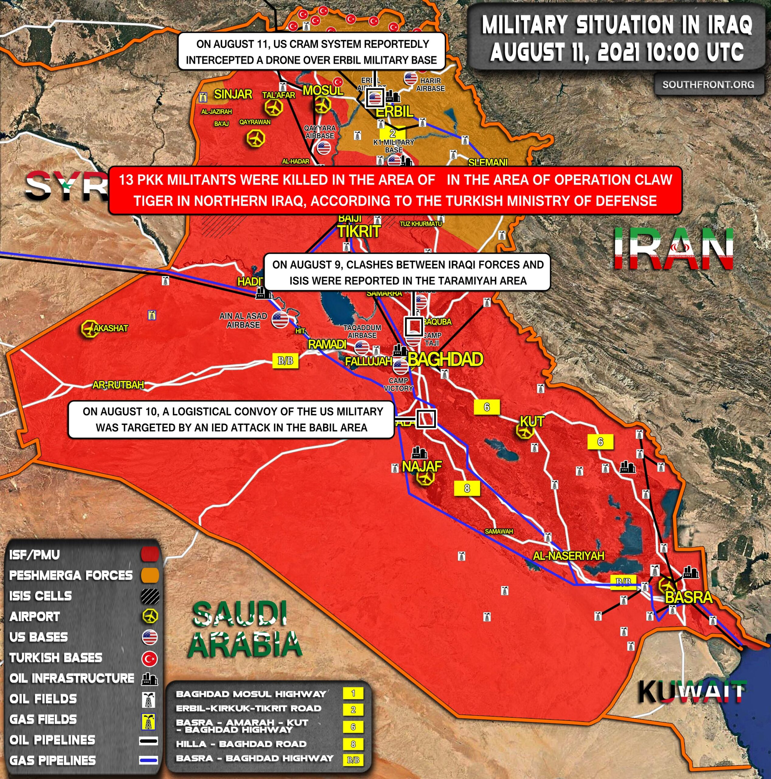 Military Situation In Iraq On August 11, 2021 (Map Update)