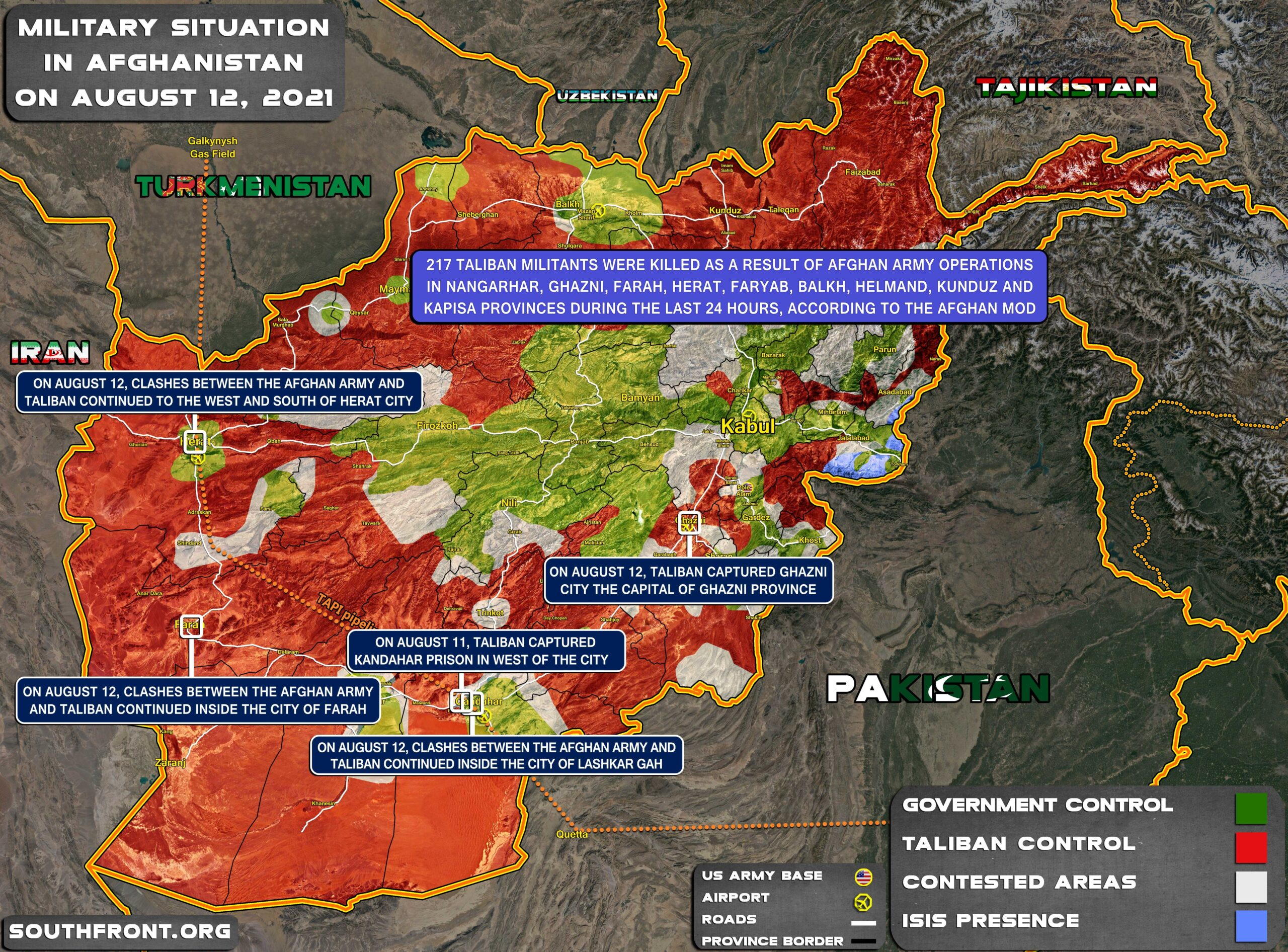 Military Situation In Afghanistan On August 12, 2021 (Map Update)