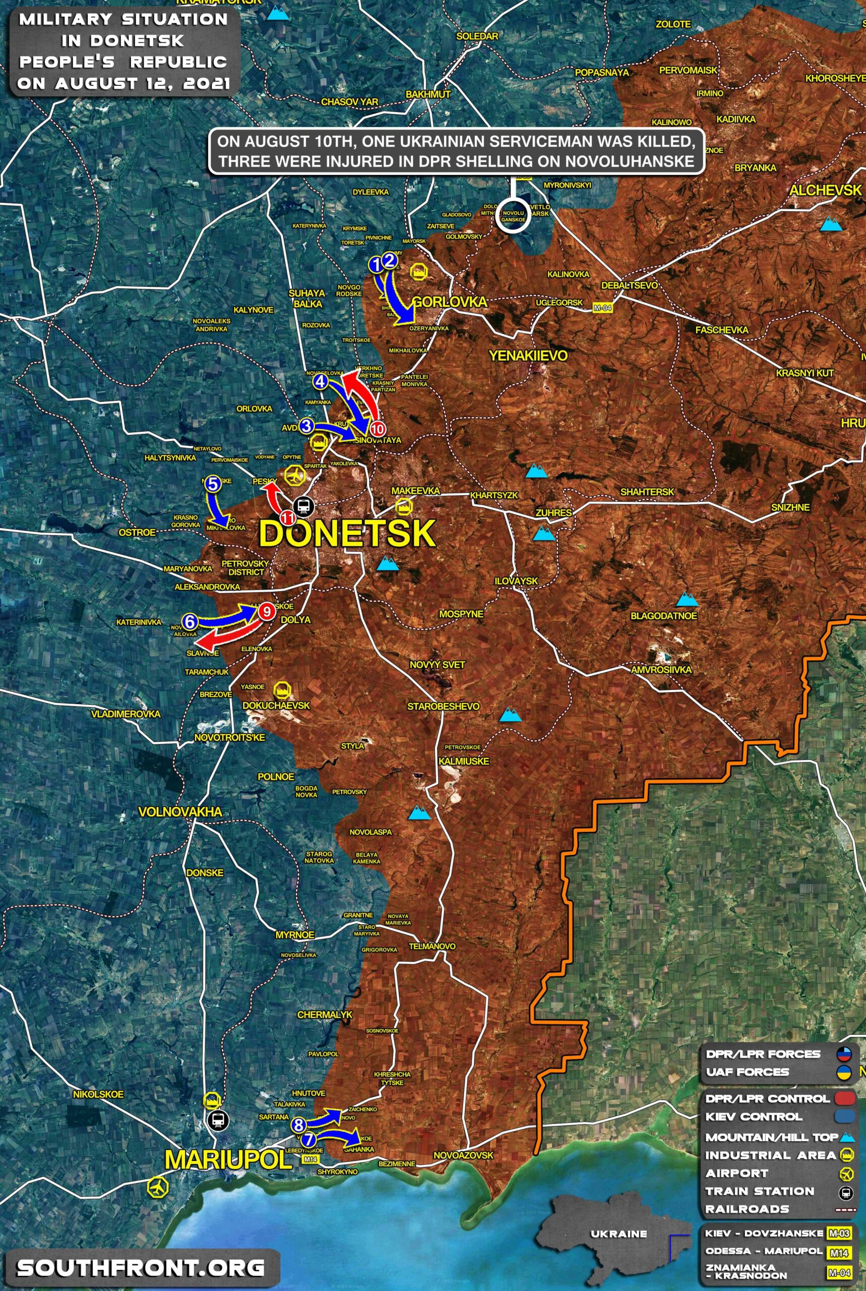 Military Situation In Donetsk People's Republic On August 12, 2021 (Map Update)