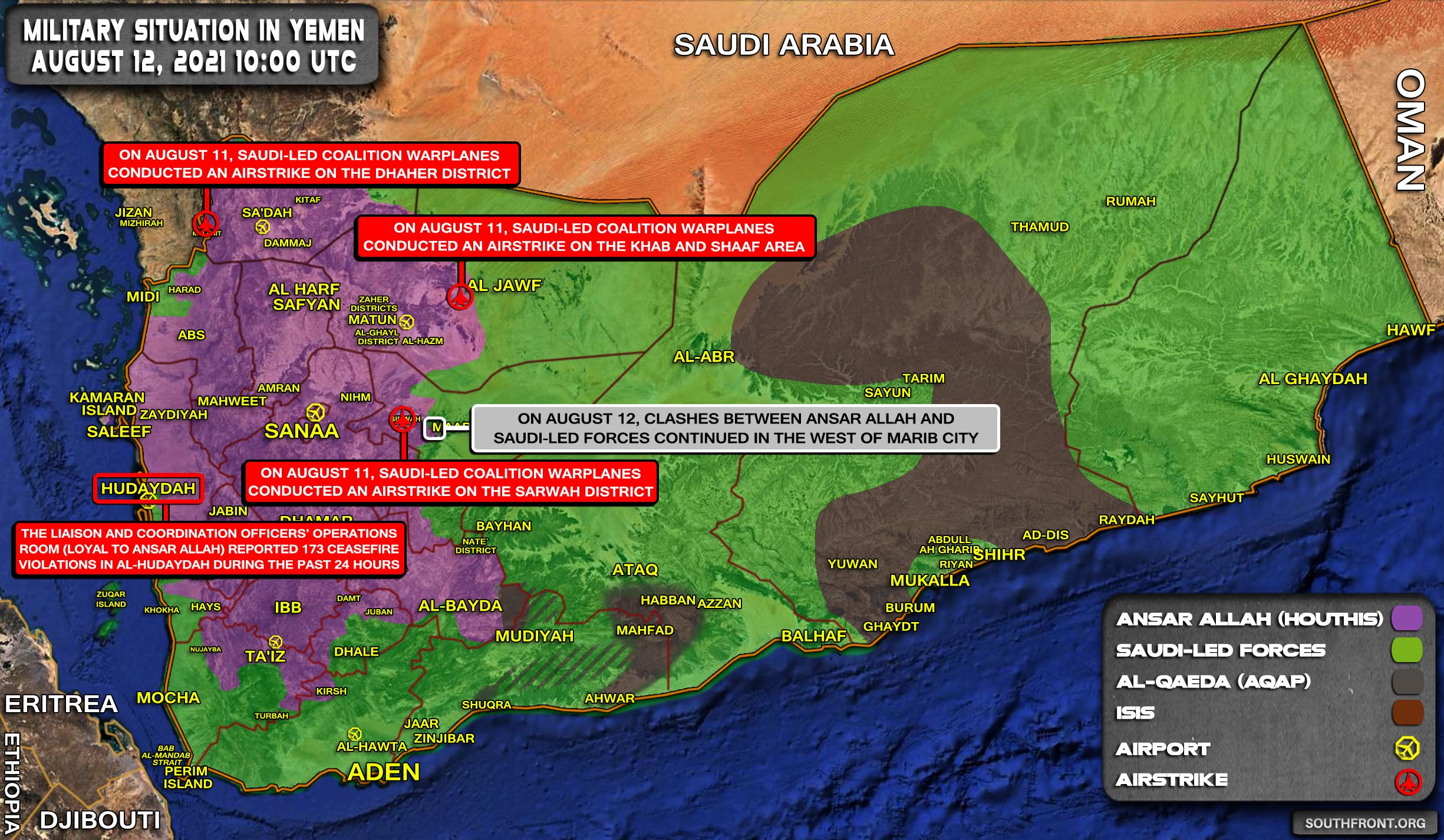 Military Situation In Yemen On August 12, 2021 (Map Update)
