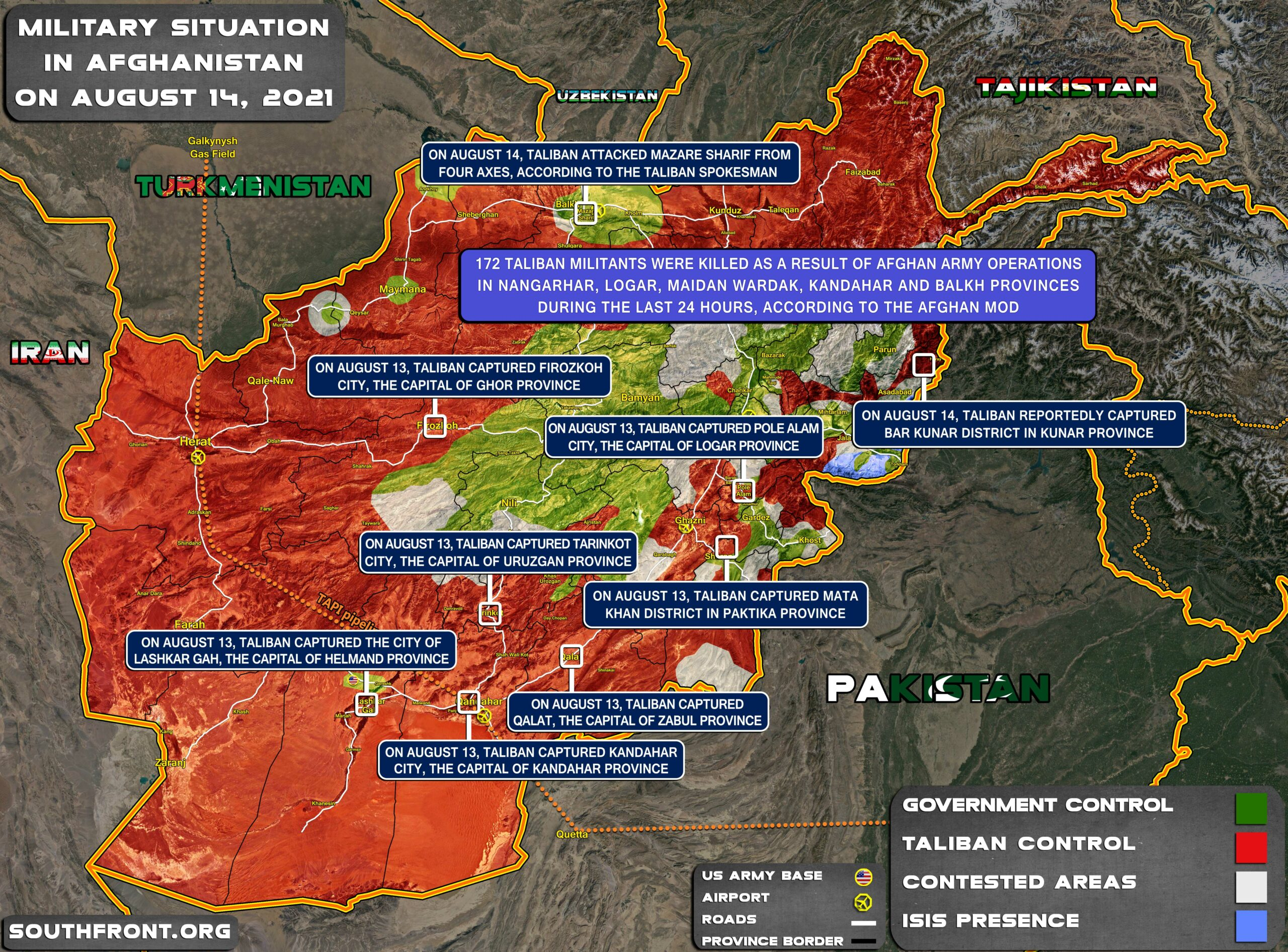 Military Situation In Afghanistan On August 14, 2021 (Map Update)