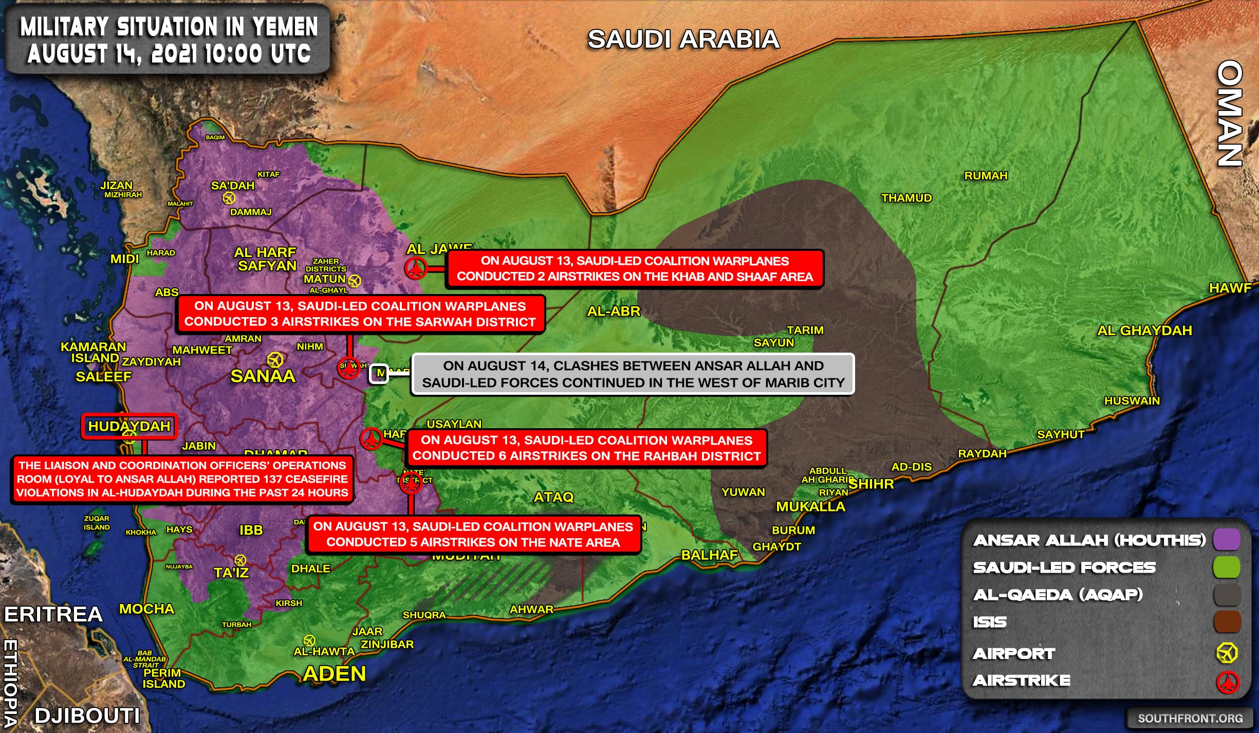 Military Situation In Yemen On August 14, 2021 (Map Update)