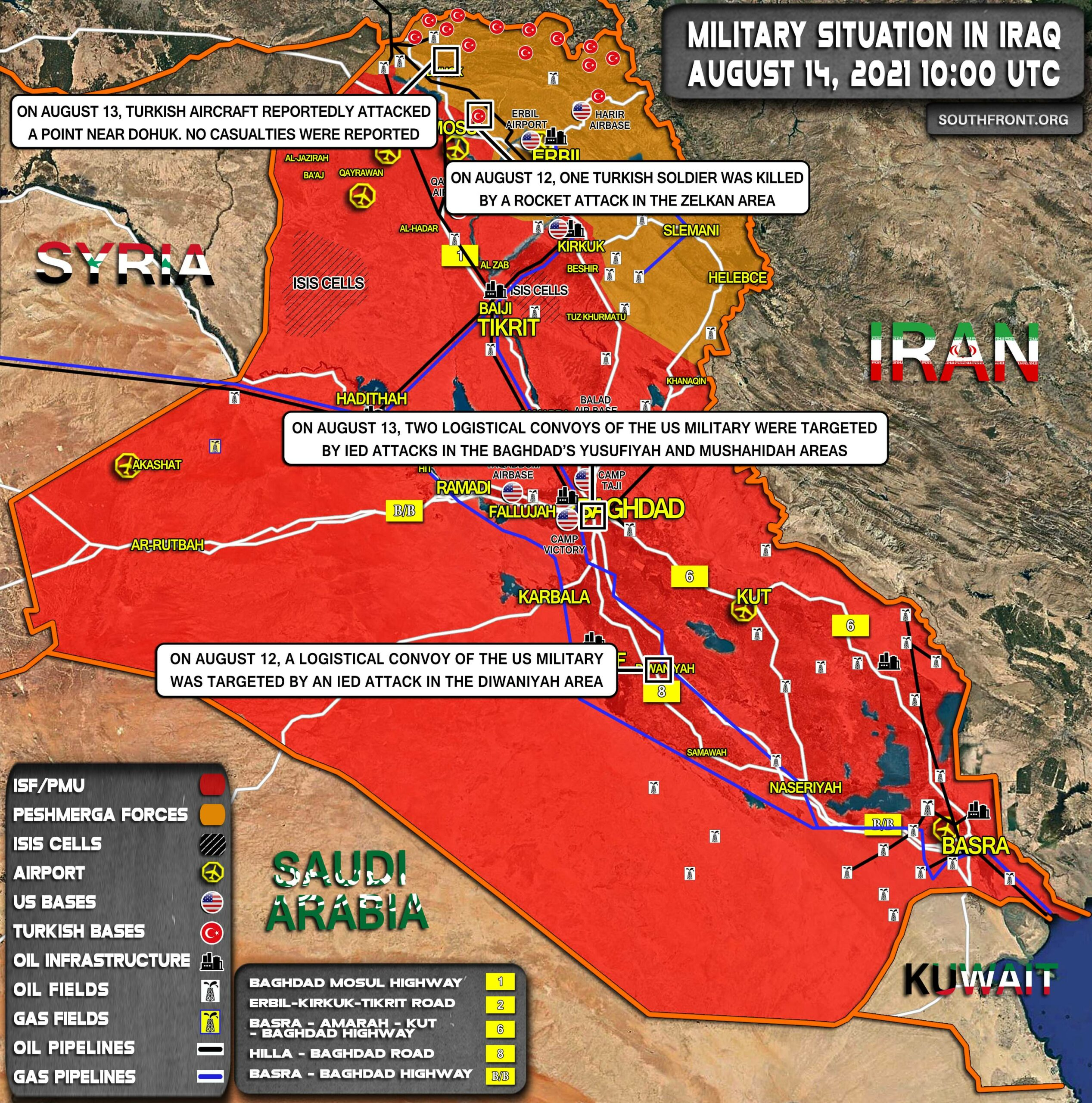 Military Situation In Iraq On August 14, 2021 (Map Update)