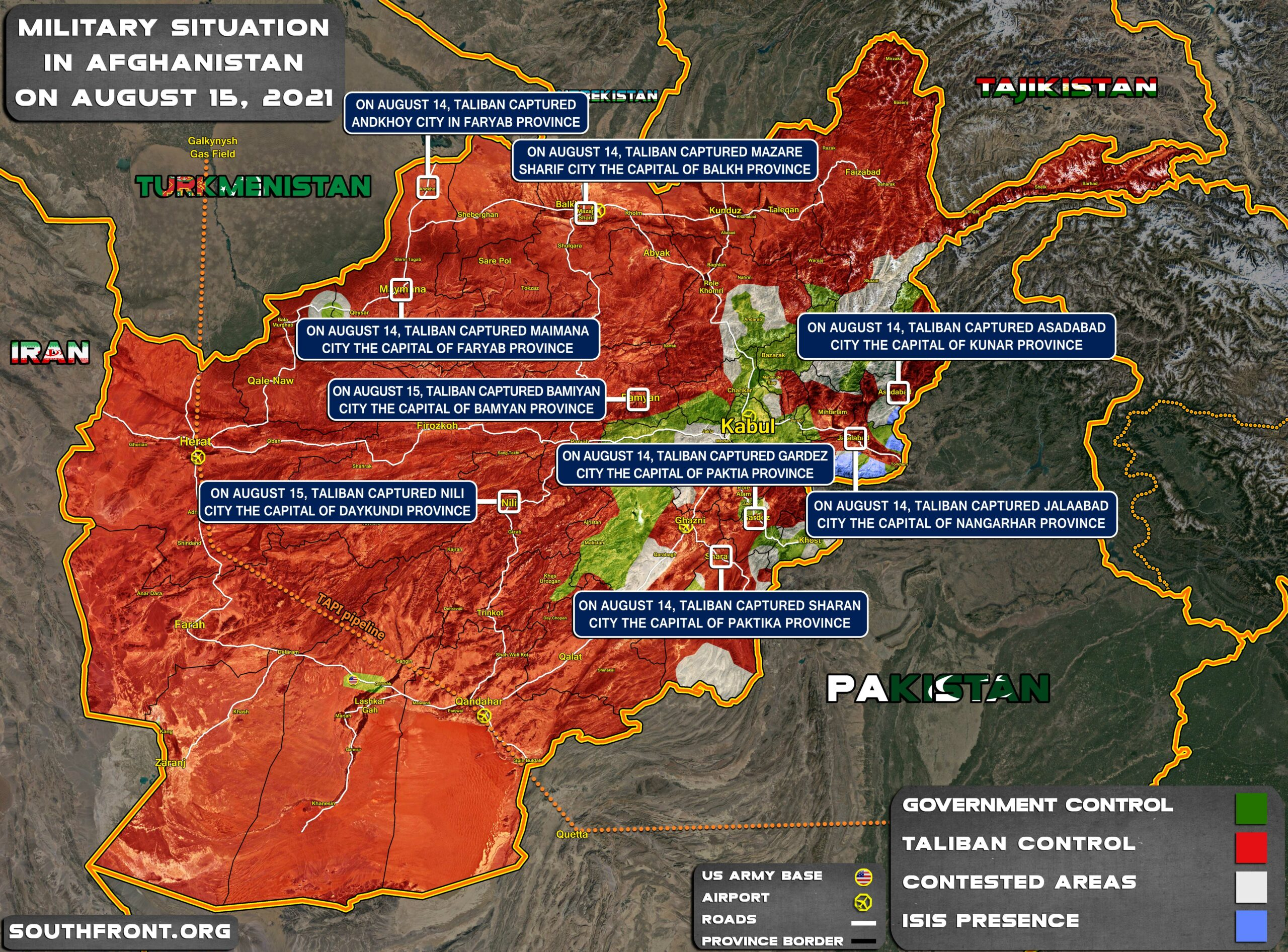 Military Situation In Afghanistan On August 15, 2021 (Map Update)