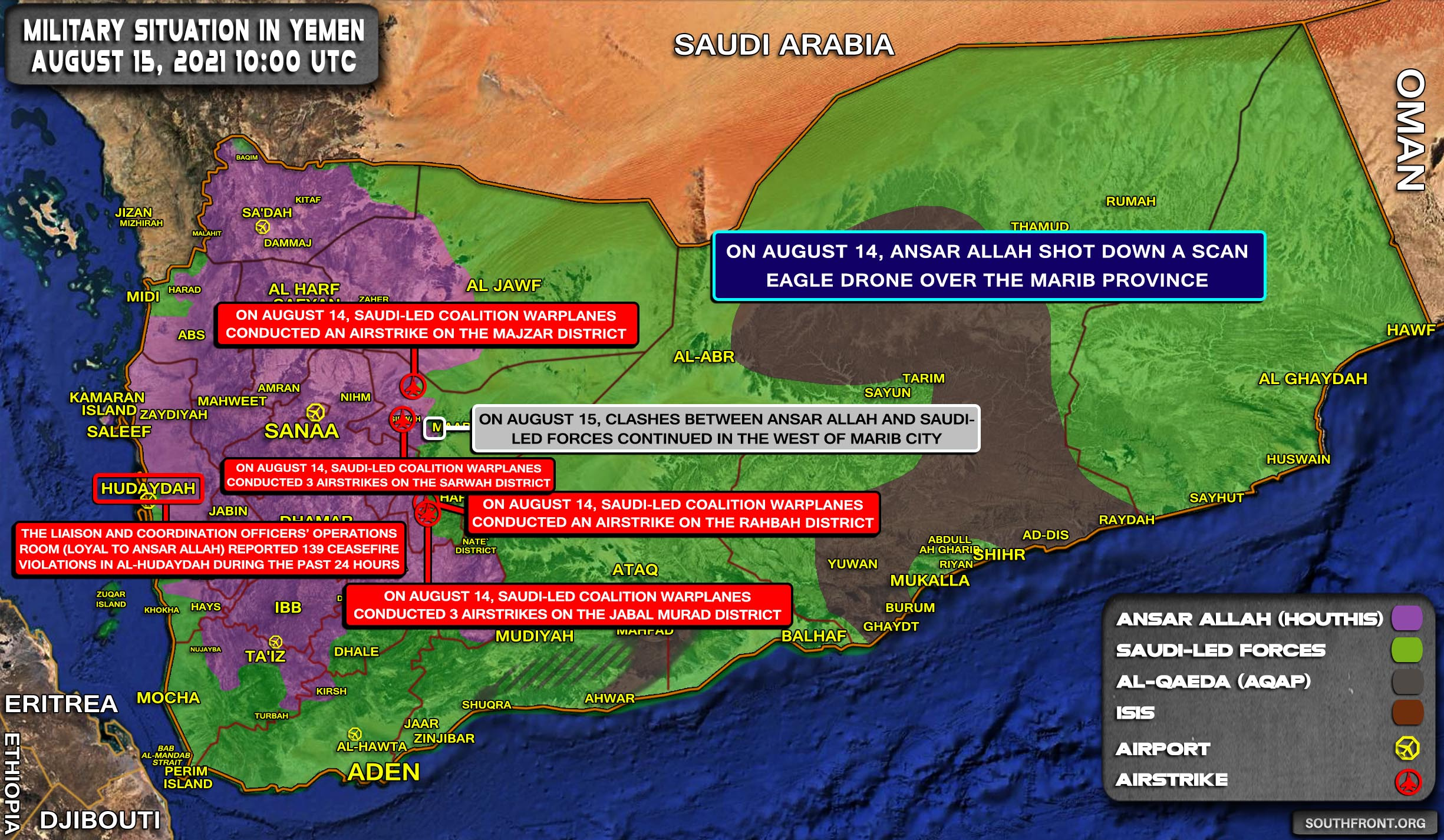 Military Situation In Yemen On August 15, 2021 (Map Update)