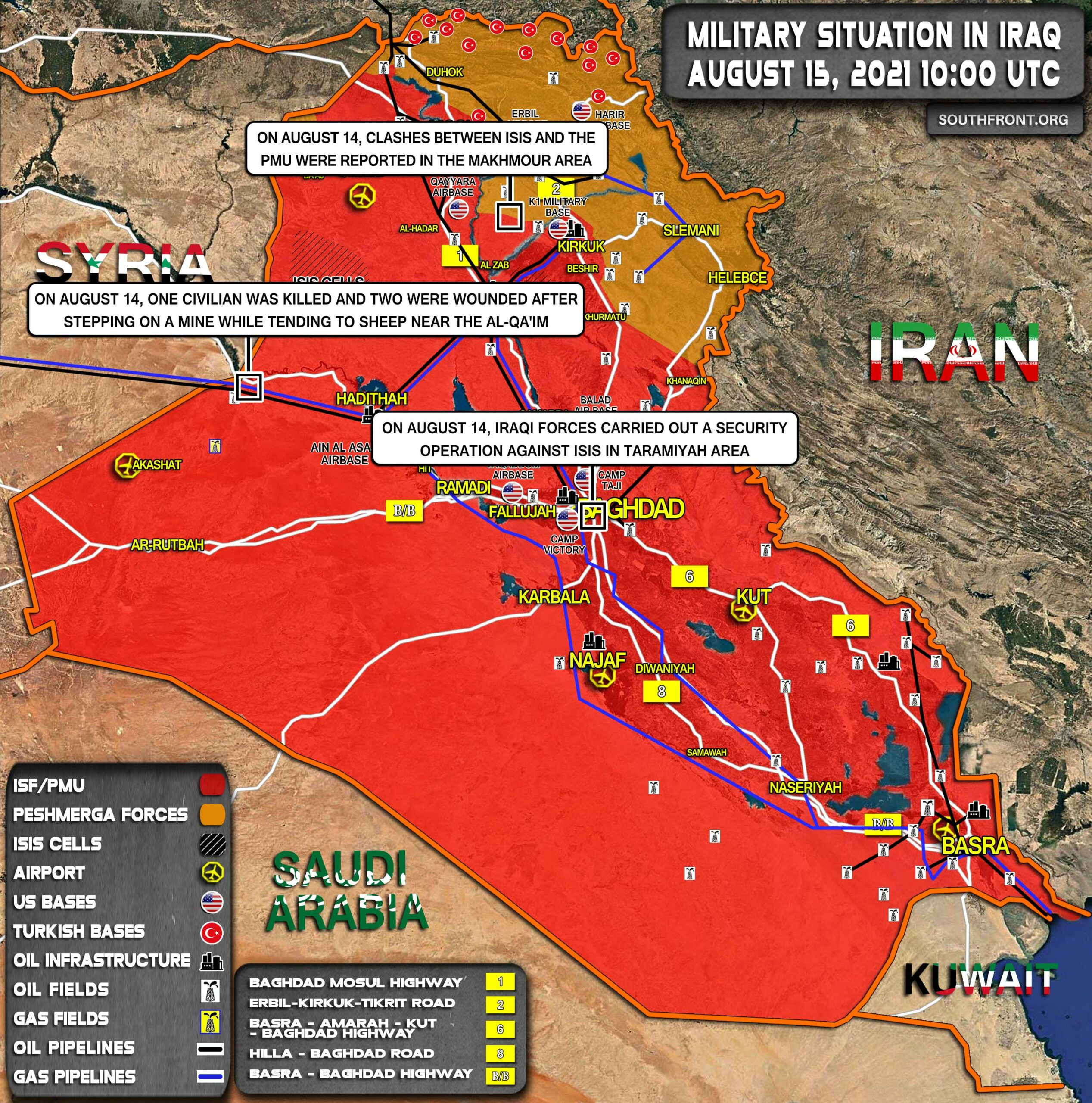 Military Situation In Iraq On August 15, 2021 (Map Update)