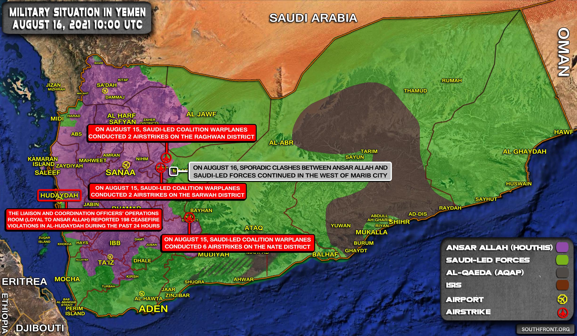 Military Situation In Yemen On August 16, 2021 (Map Update)