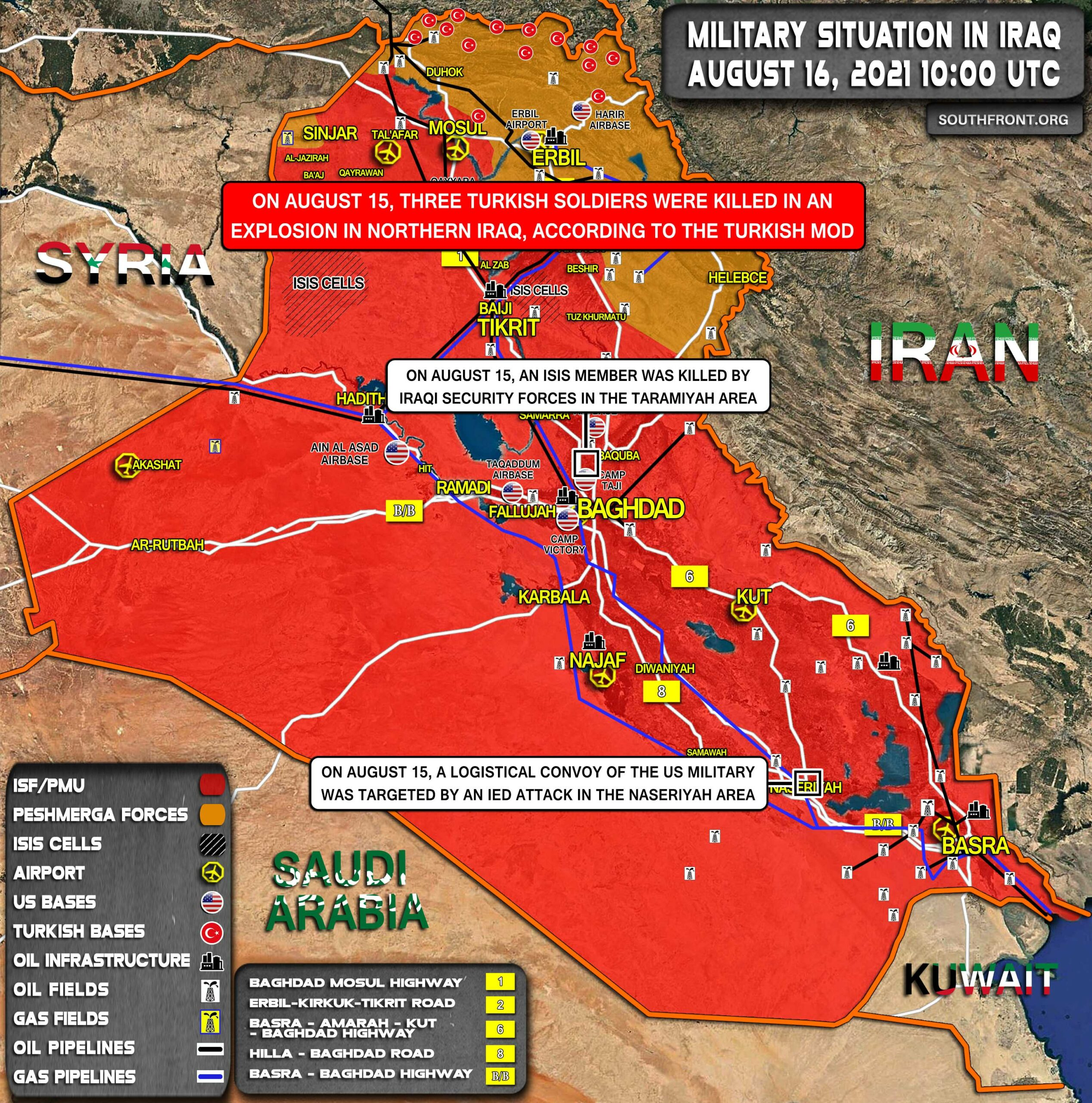 Military Situation In Iraq On August 16, 2021 (Map Update)