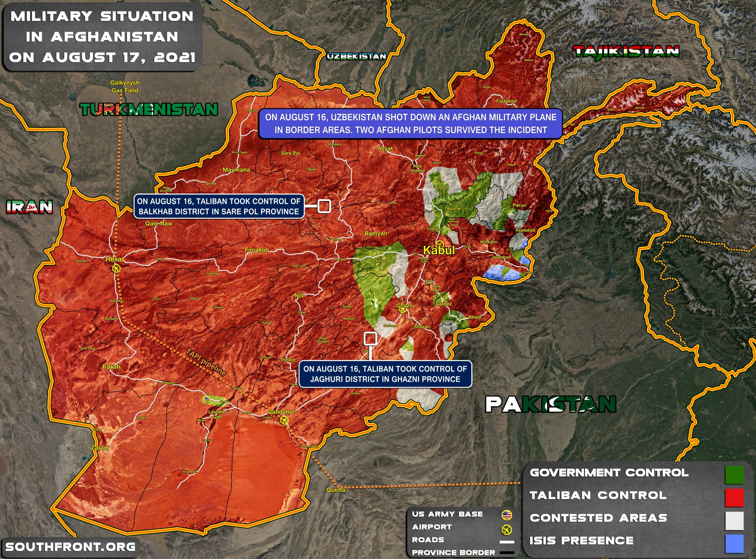 Military Situation In Afghanistan On August 17, 2021 (Map Update)