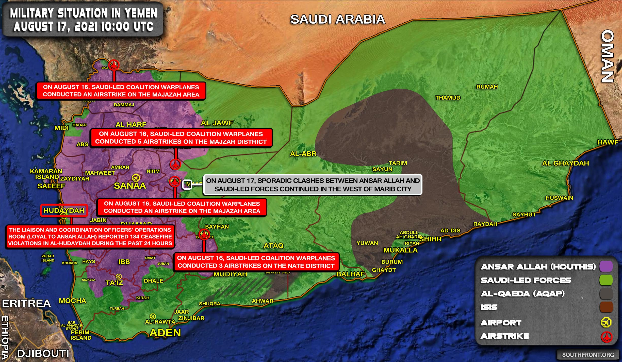 Military Situation In Yemen On August 17, 2021 (Map Update)
