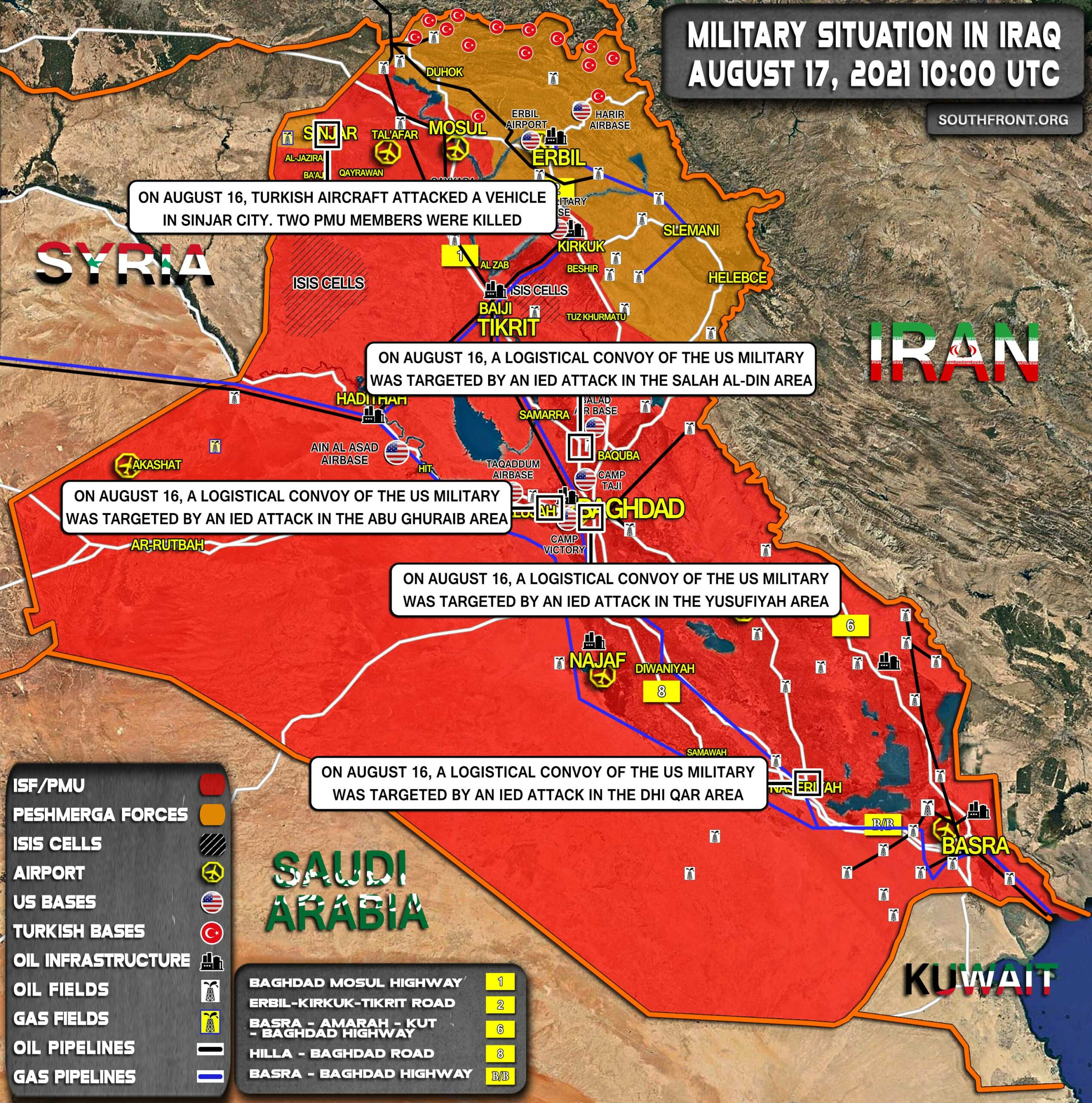 Military Situation In Iraq On August 17, 2021 (Map Update)