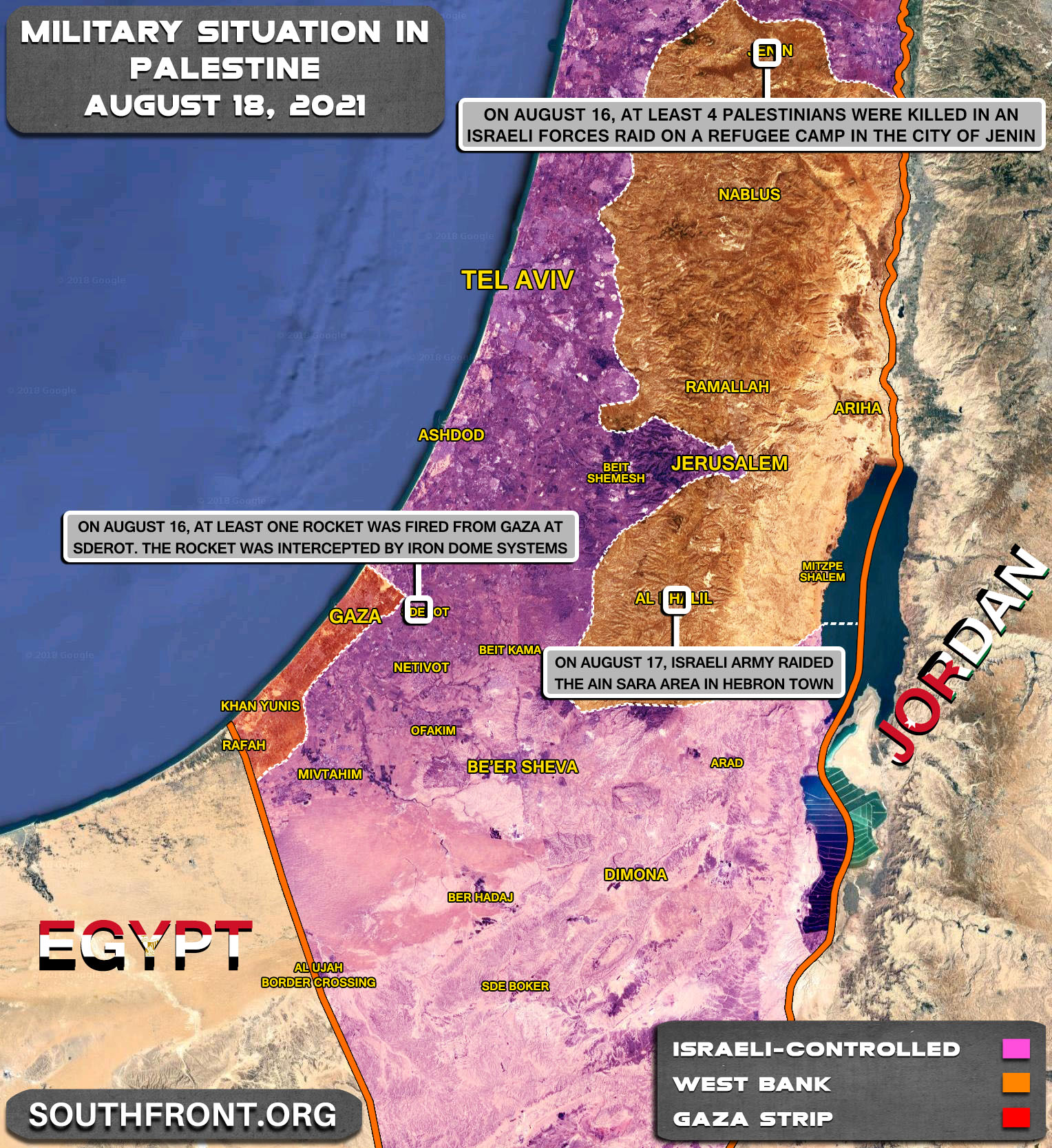 Military Situation In The Gaza Strip And West Bank On August 18, 2021 (Map Update)