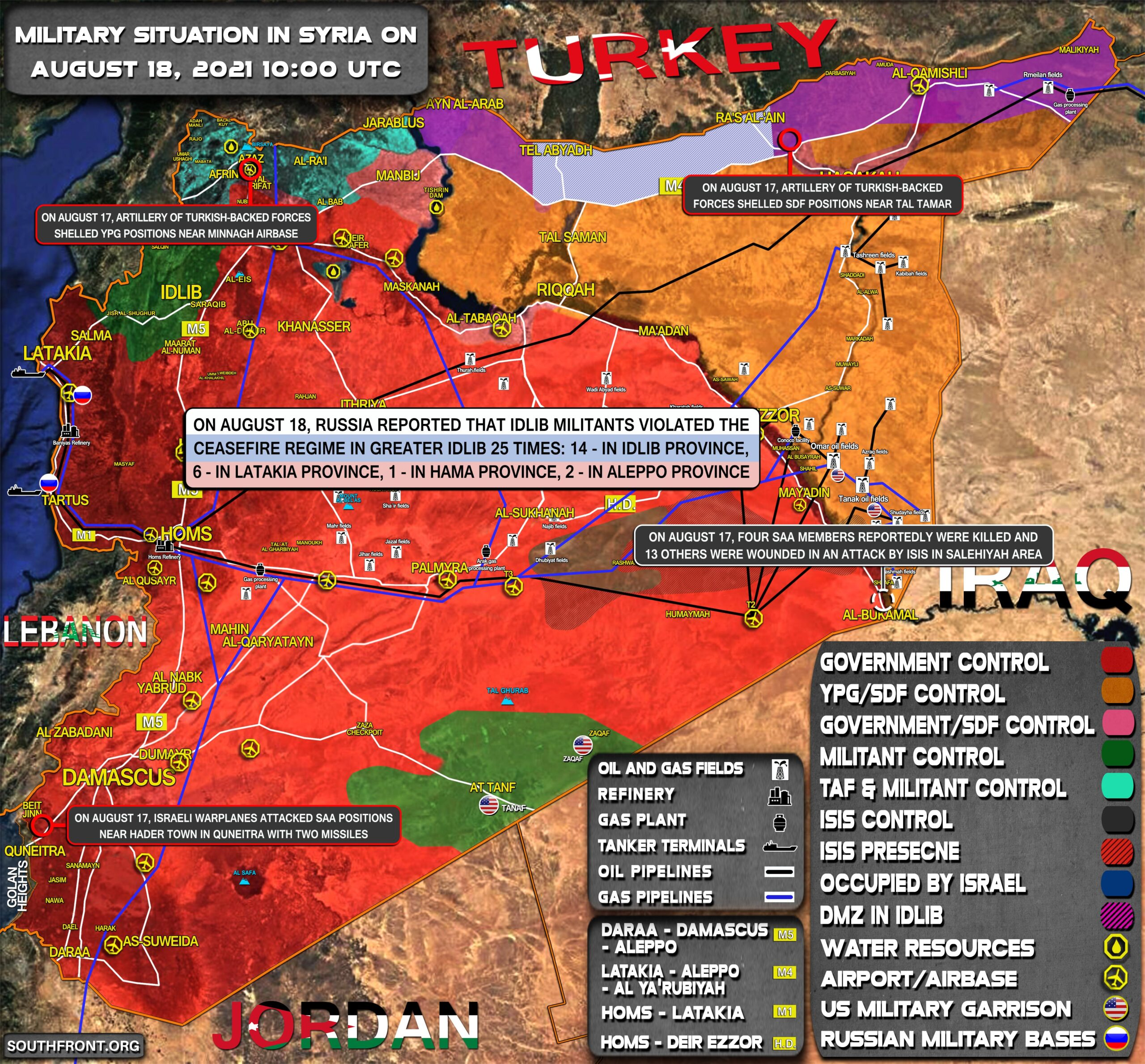 Military Situation In Syria On August 18, 2021 (Map Update)
