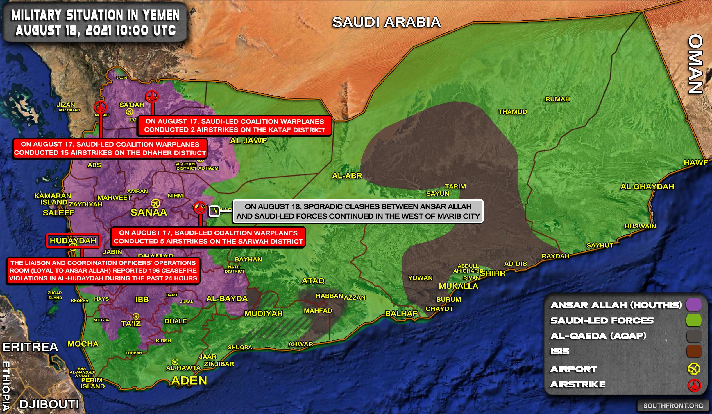 Military Situation In Yemen On August 18, 2021 (Map Update)