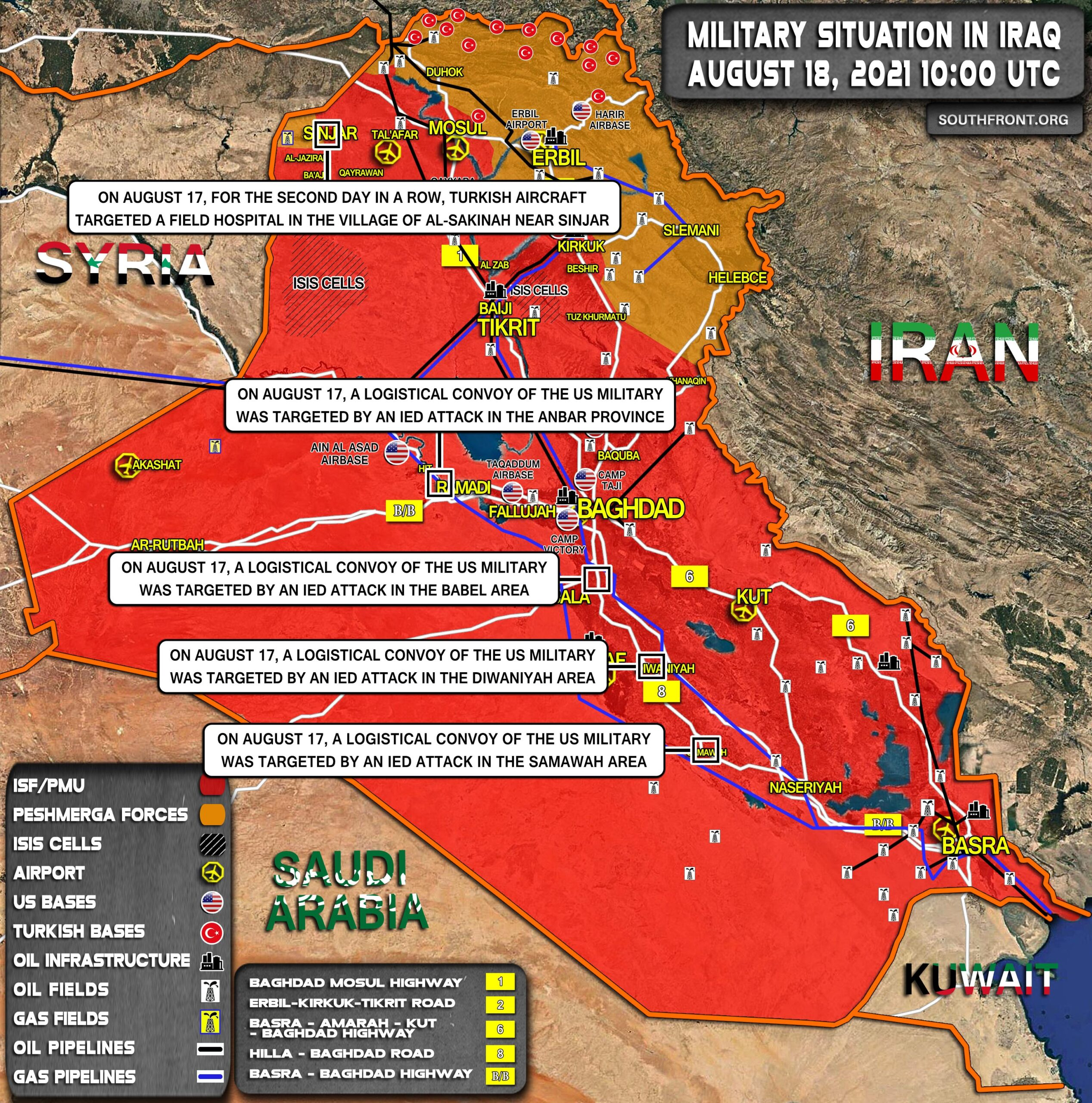 Military Situation In Iraq On August 18, 2021 (Map Update)
