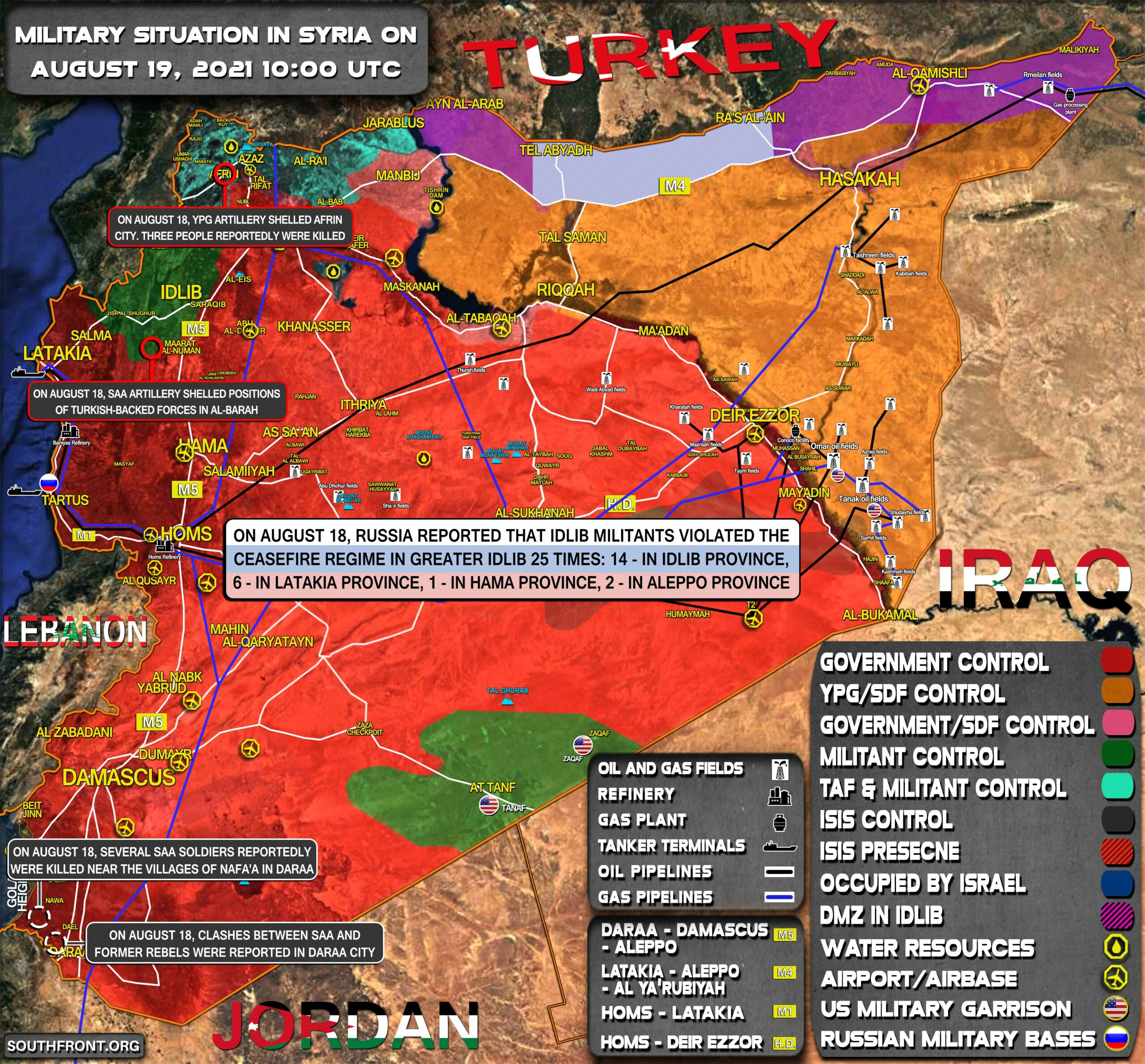 Military Situation In Syria On August 19, 2021 (Map Update)