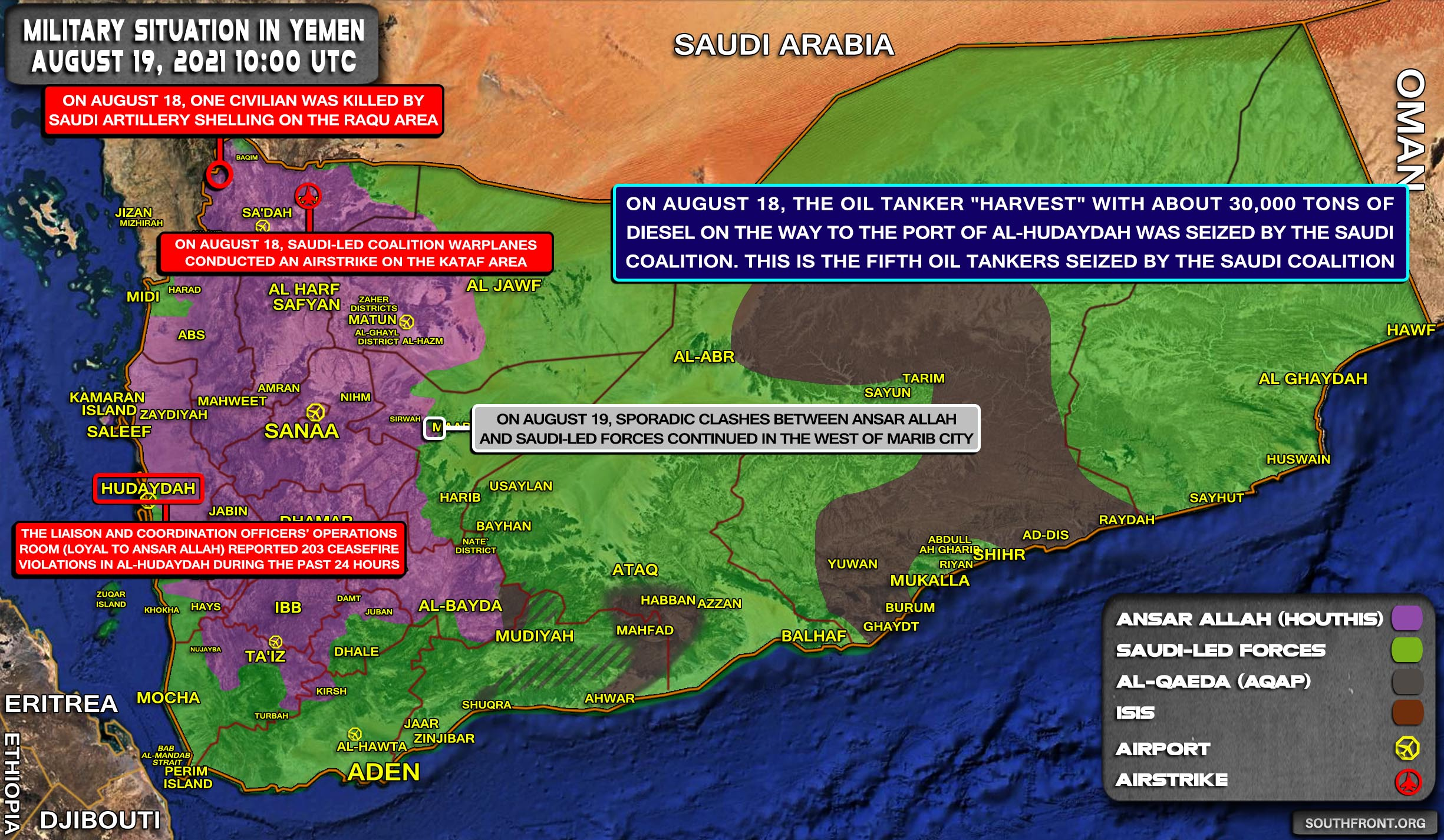 Military Situation In Yemen On August 19, 2021 (Map Update)