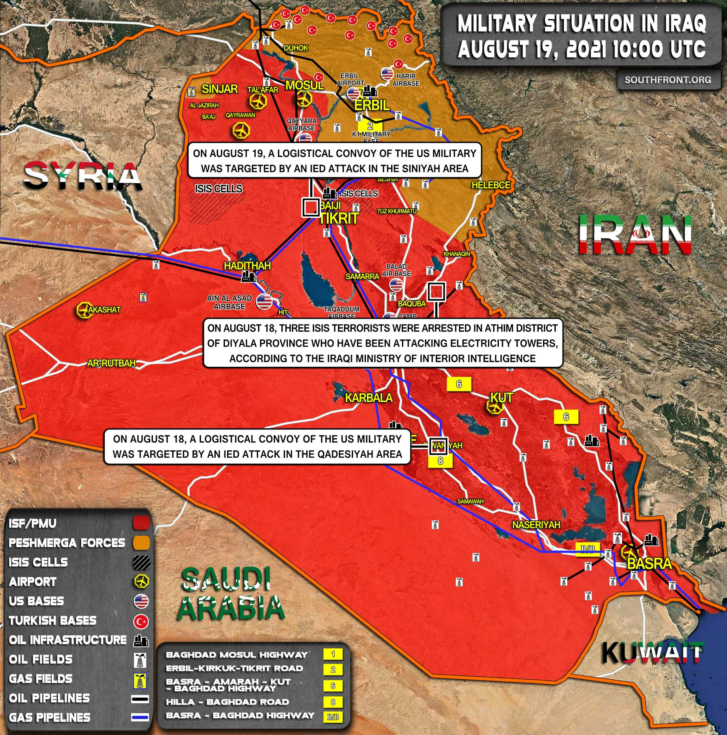 Military Situation In Iraq On August 19, 2021 (Map Update)