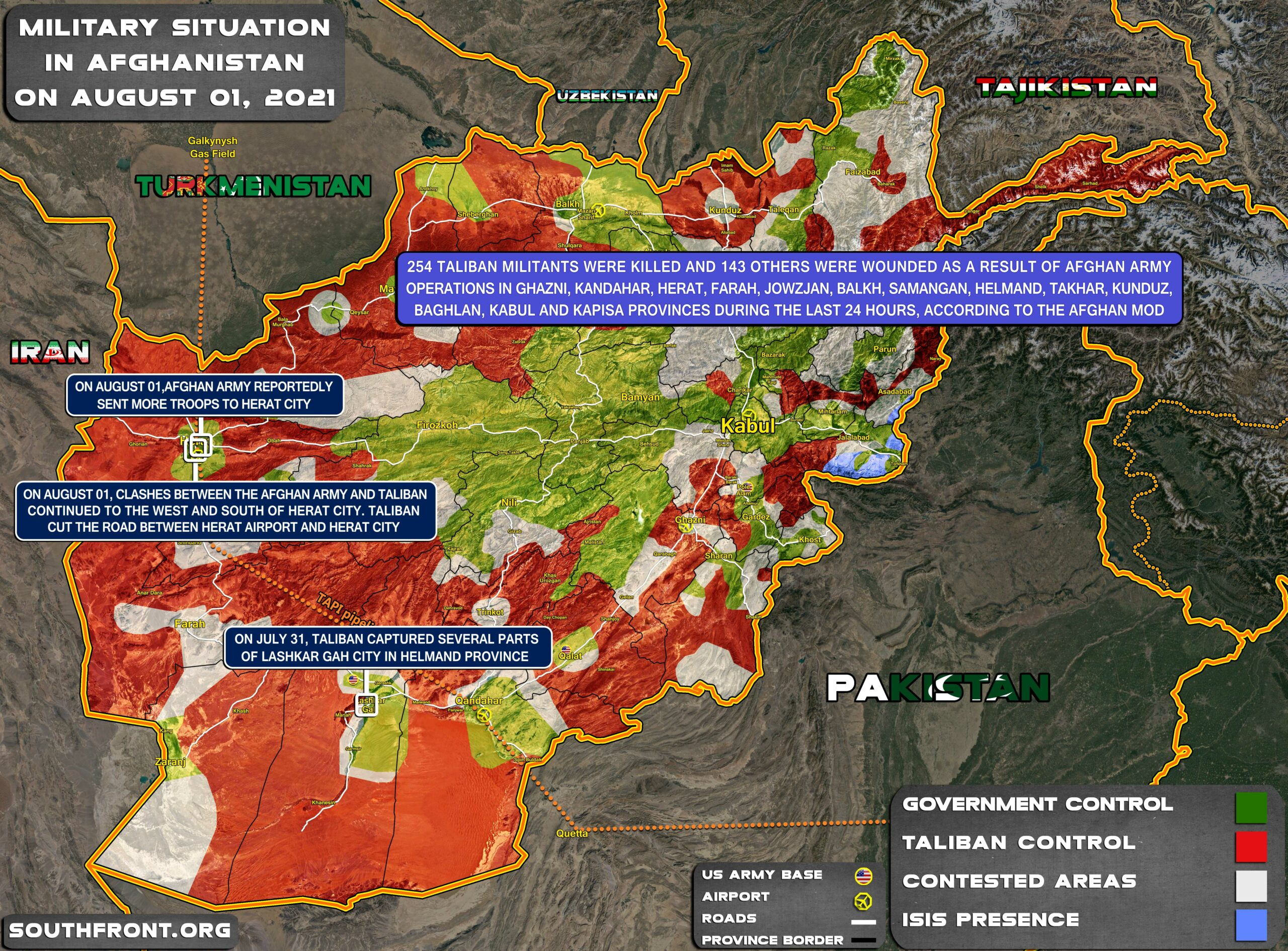 Military Situation In Afghanistan On August 1, 2021 (Map Update)