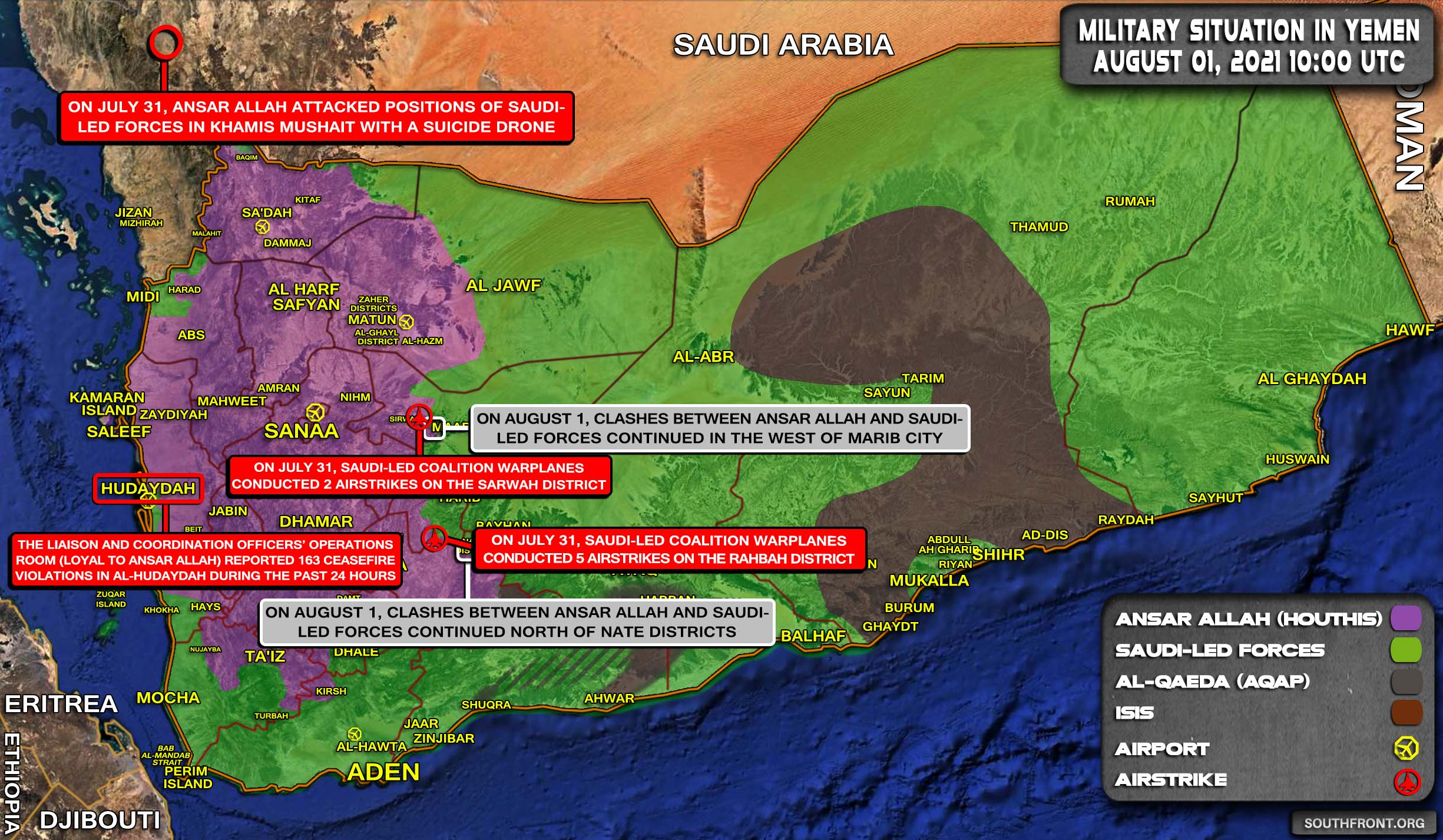Military Situation In Yemen On August 1, 2021 (Map Update)