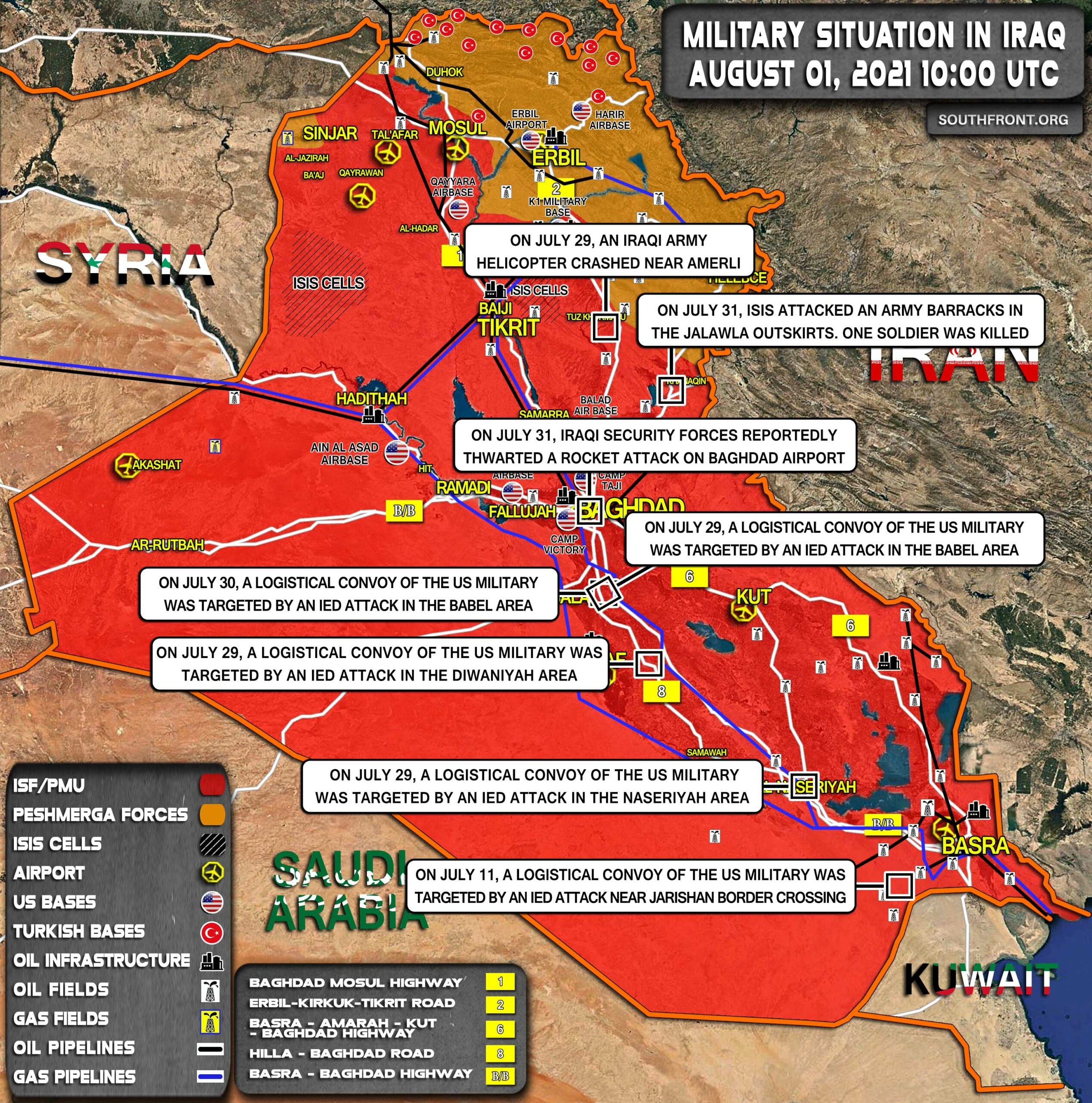 Military Situation In Iraq On August 1, 2021 (Map Update)