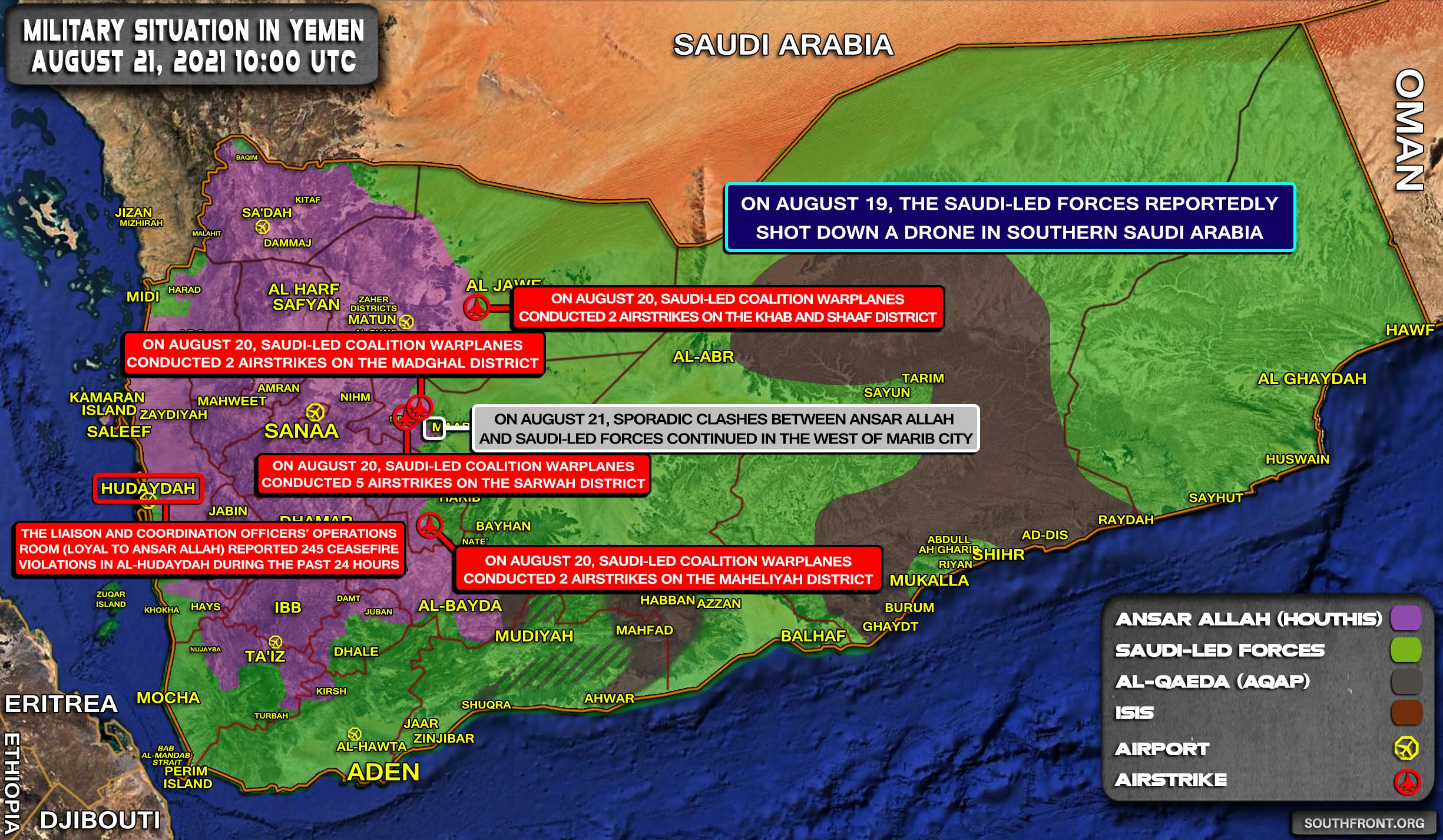 Military Situation In Yemen On August 21, 2021 (Map Update)