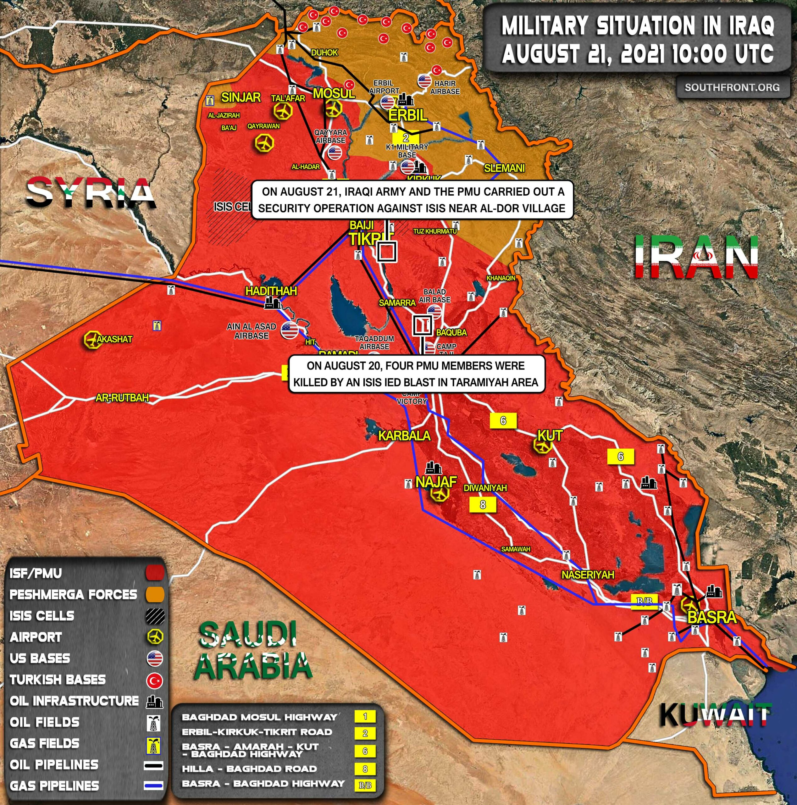 Military Situation In Iraq On August 21, 2021 (Map Update)