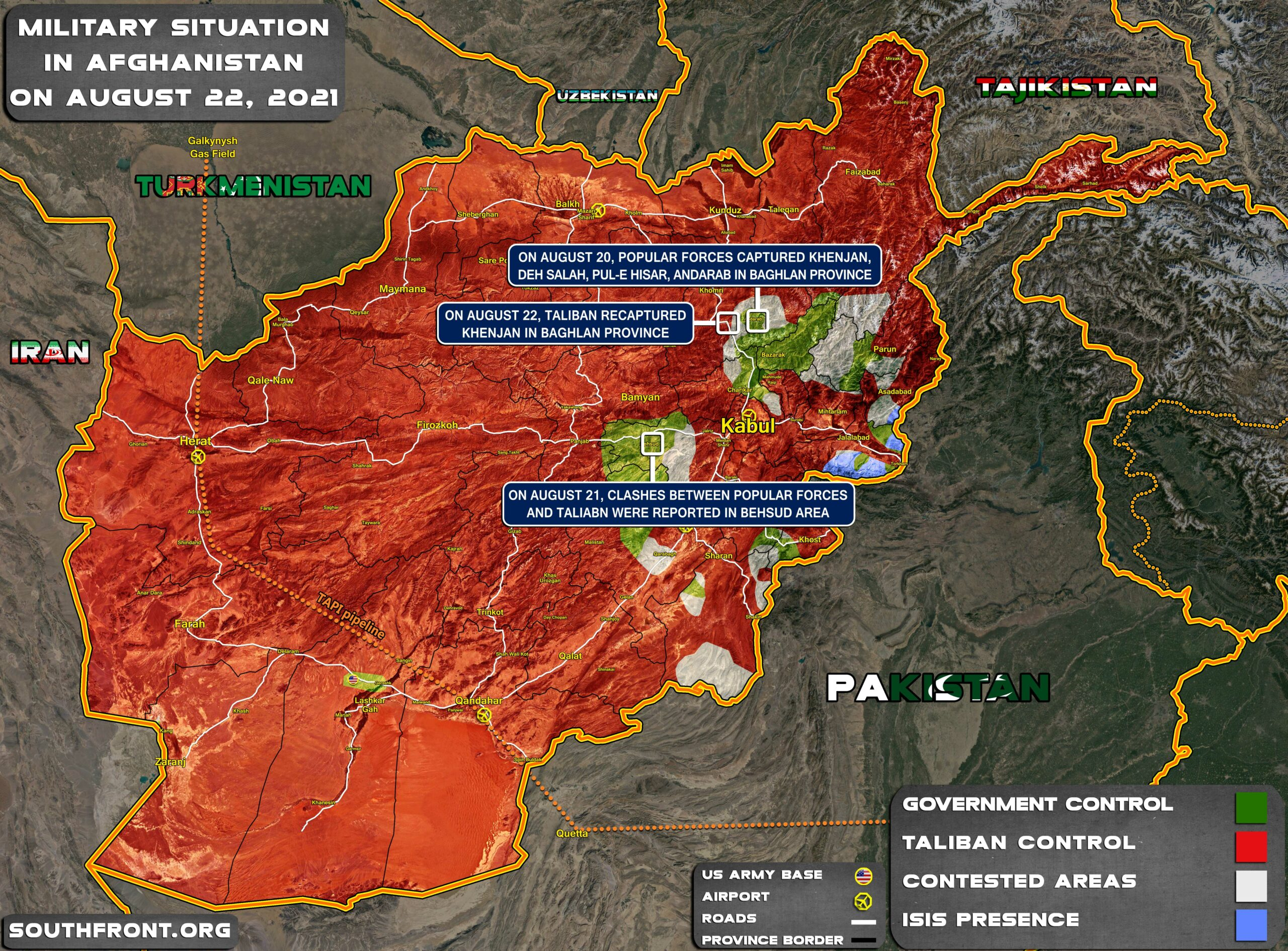 Military Situation In Afghanistan On August 22, 2021 (Map Update)