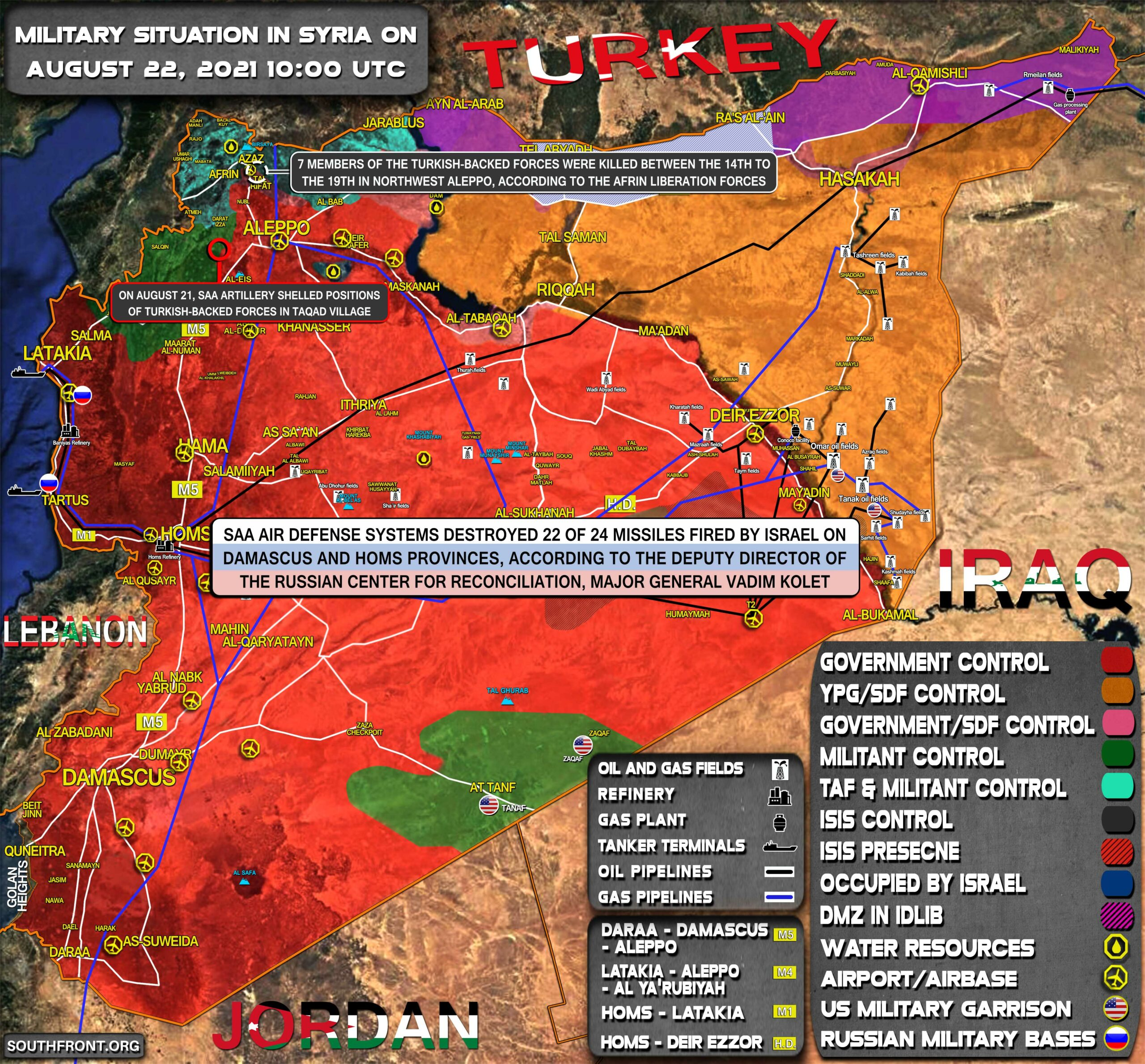 Military Situation In Syria On August 22, 2021 (Map Update)