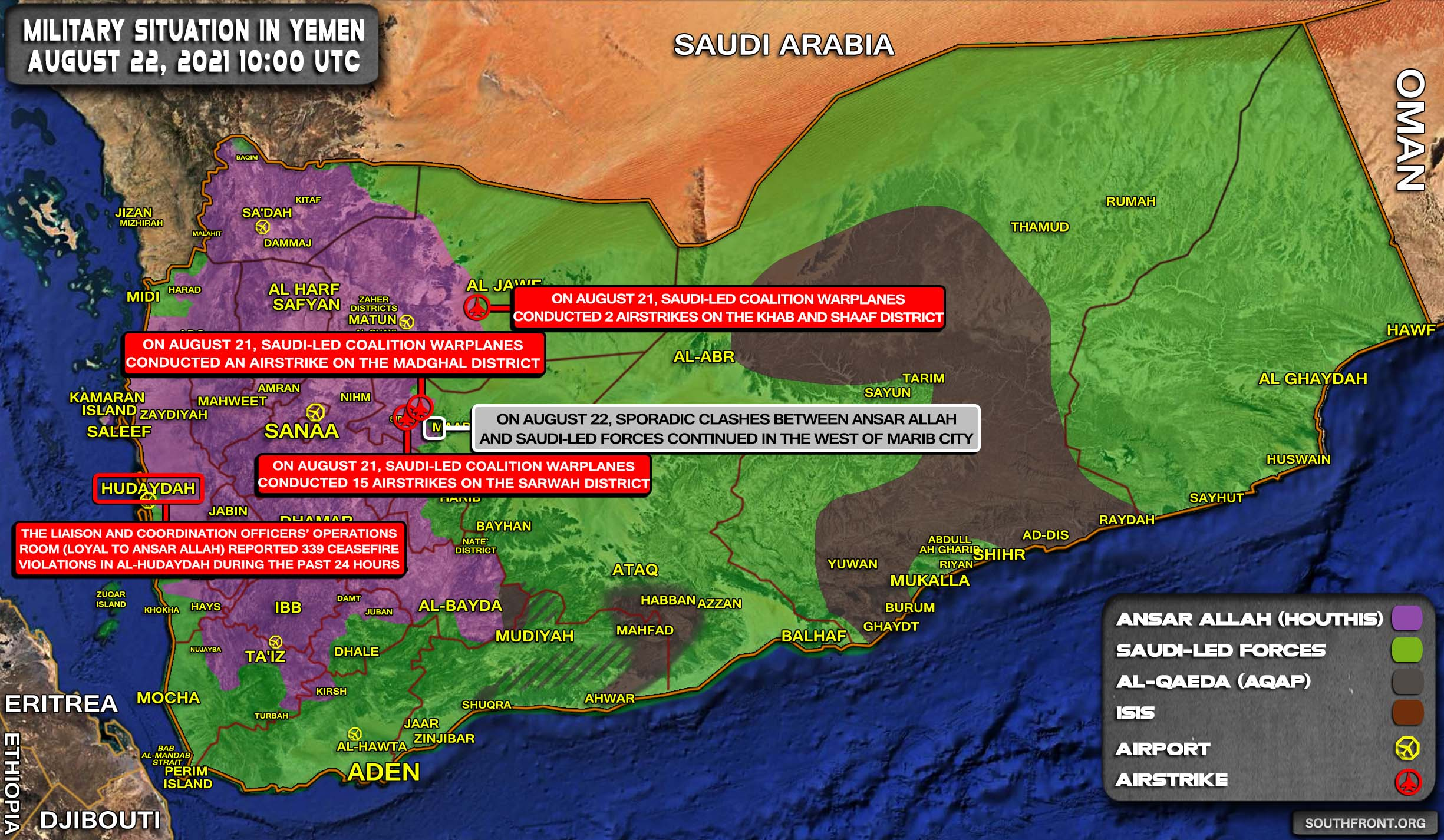Military Situation In Yemen On August 22, 2021 (Map Update)