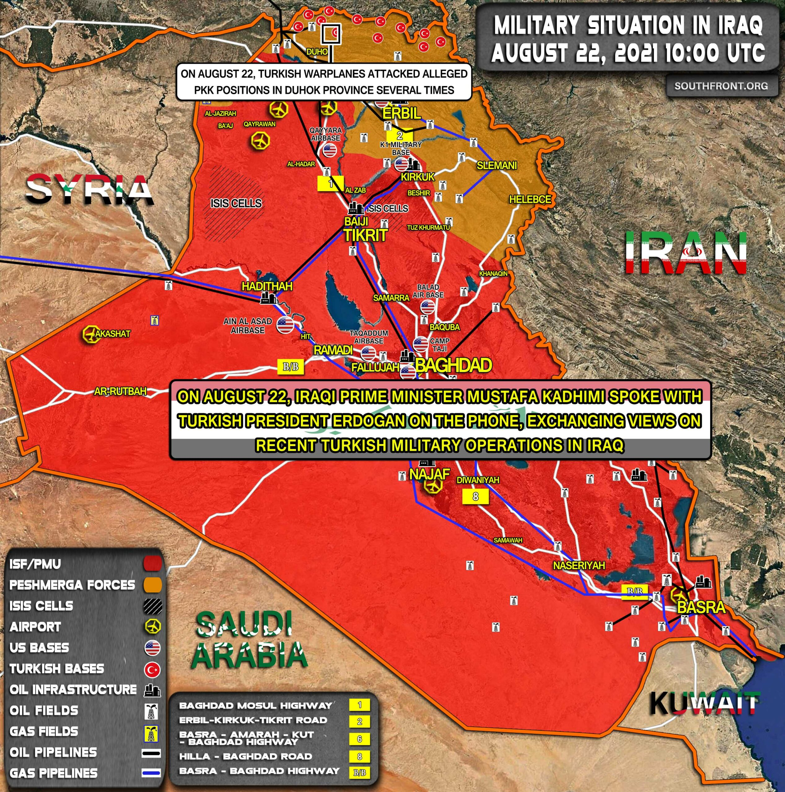 Military Situation In Iraq On August 22, 2021 (Map Update)