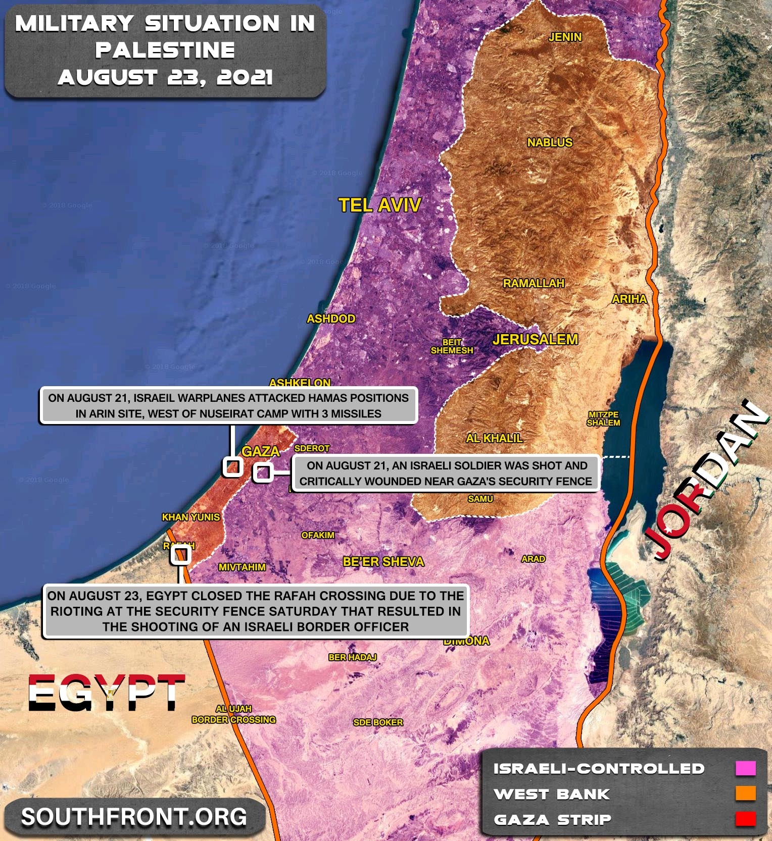 Military Situation In The West Bank and Gaza Strip On August 23, 2021 (Map Update)