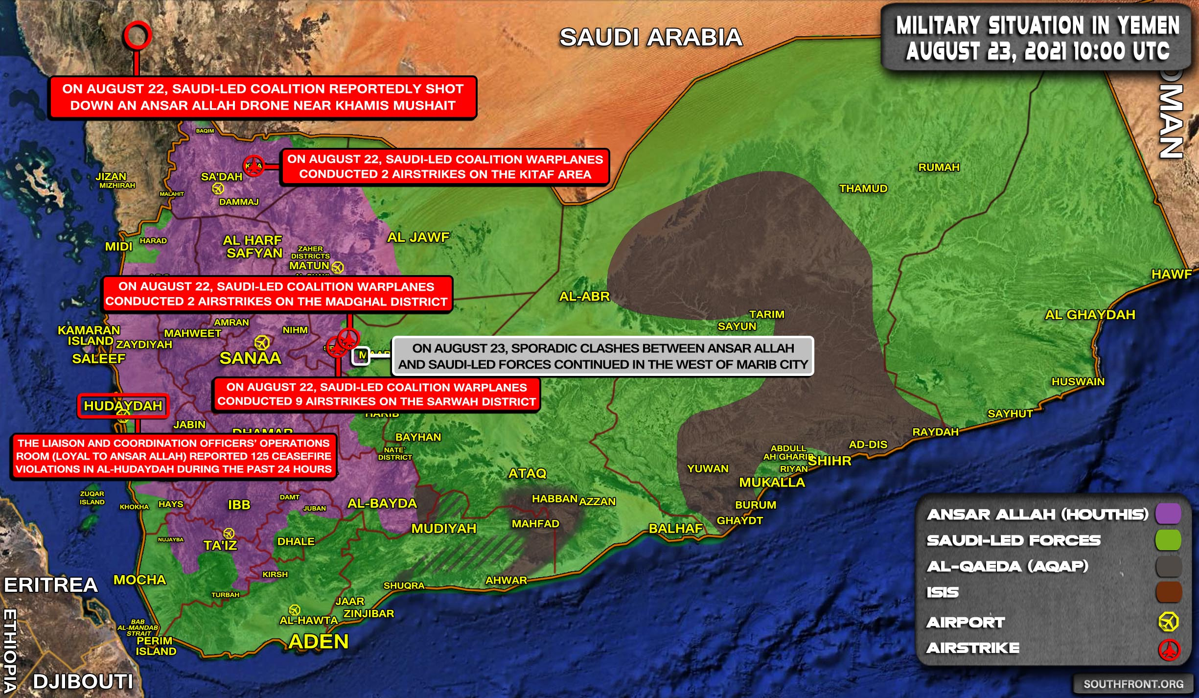 Military Situation In Yemen On August 23, 2021 (Map Update)
