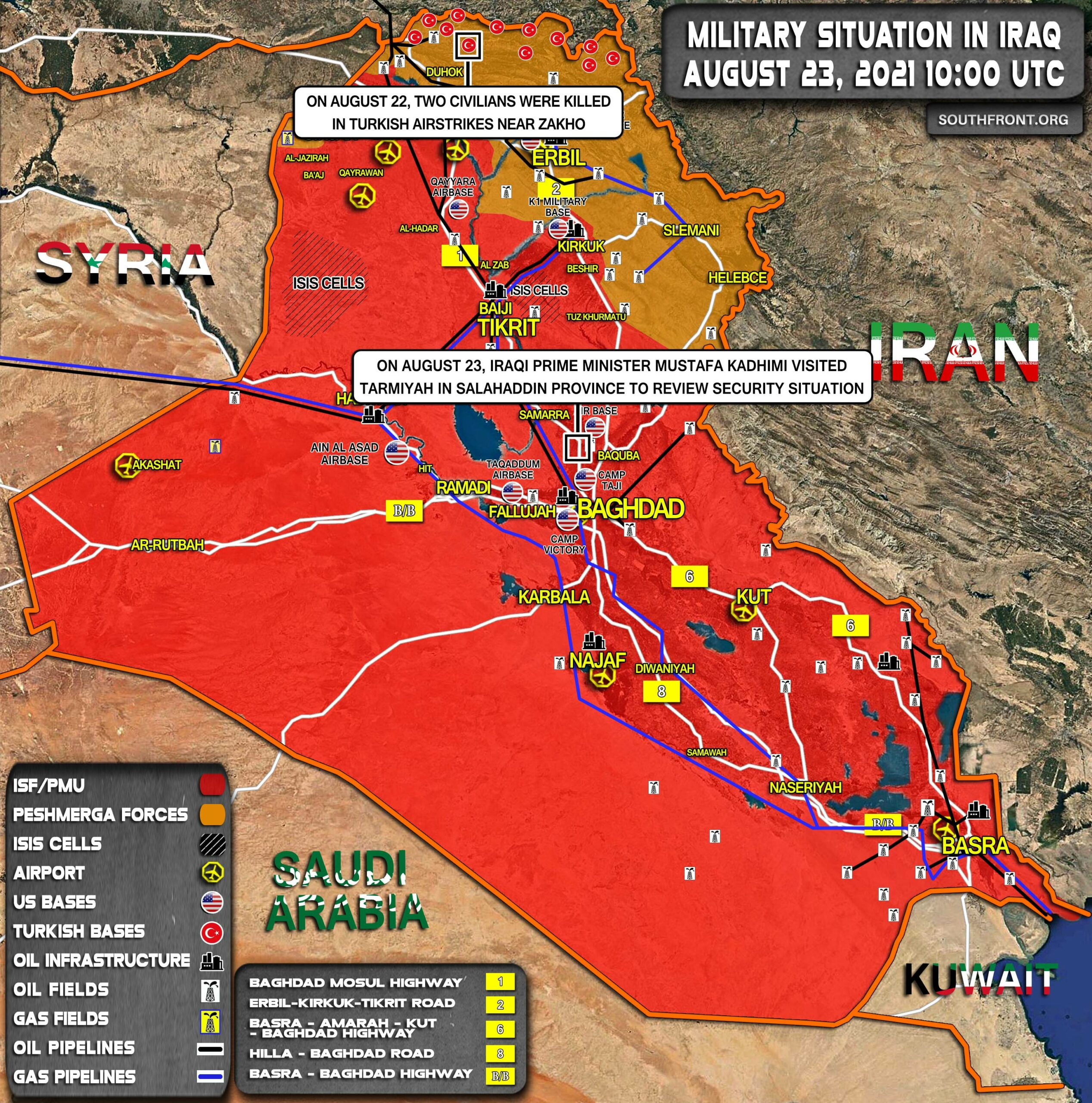 Military Situation In Iraq On August 23, 2021 (Map Update)