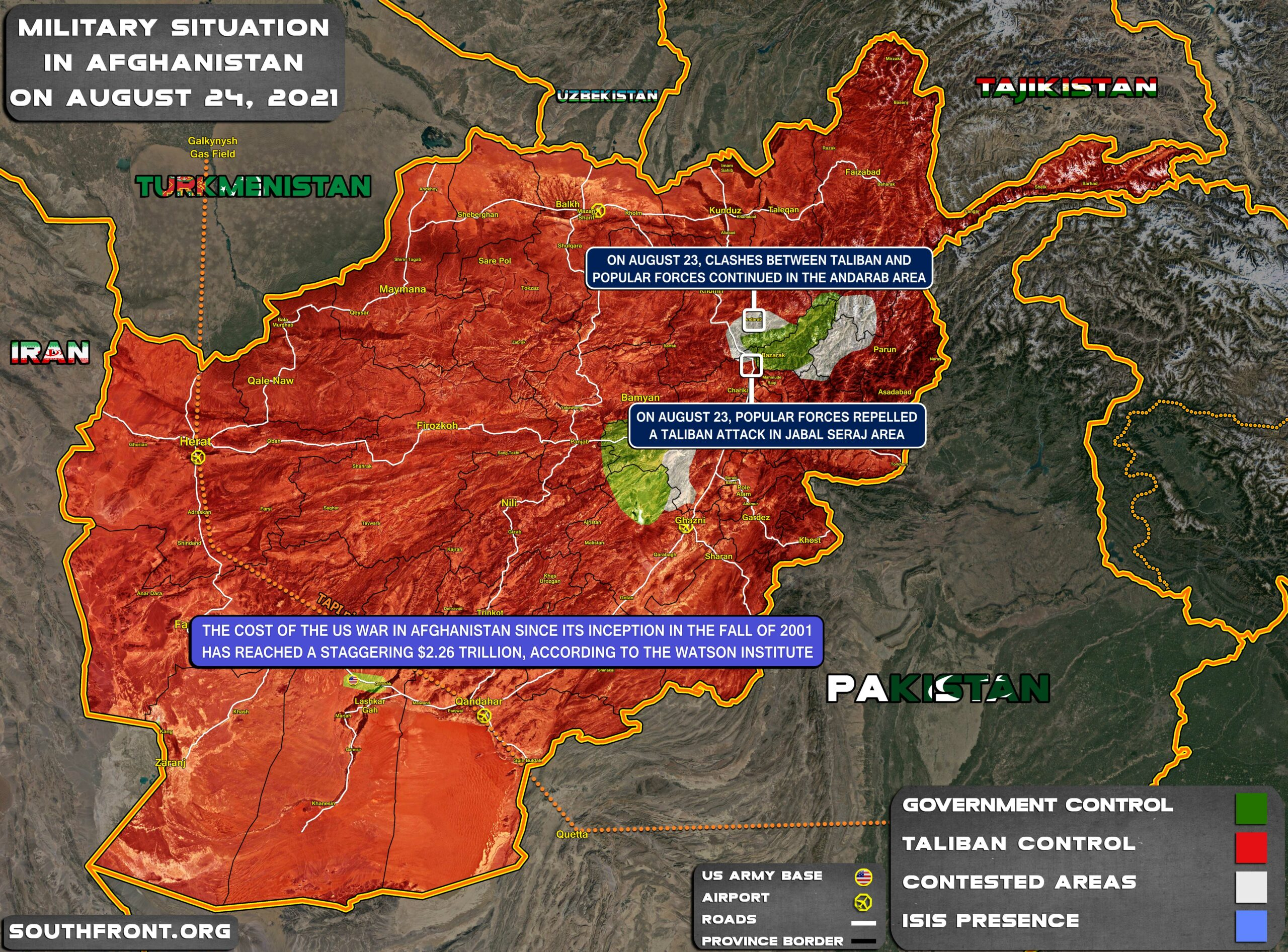 Military Situation In Afghanistan On August 24, 2021 (Map Update)
