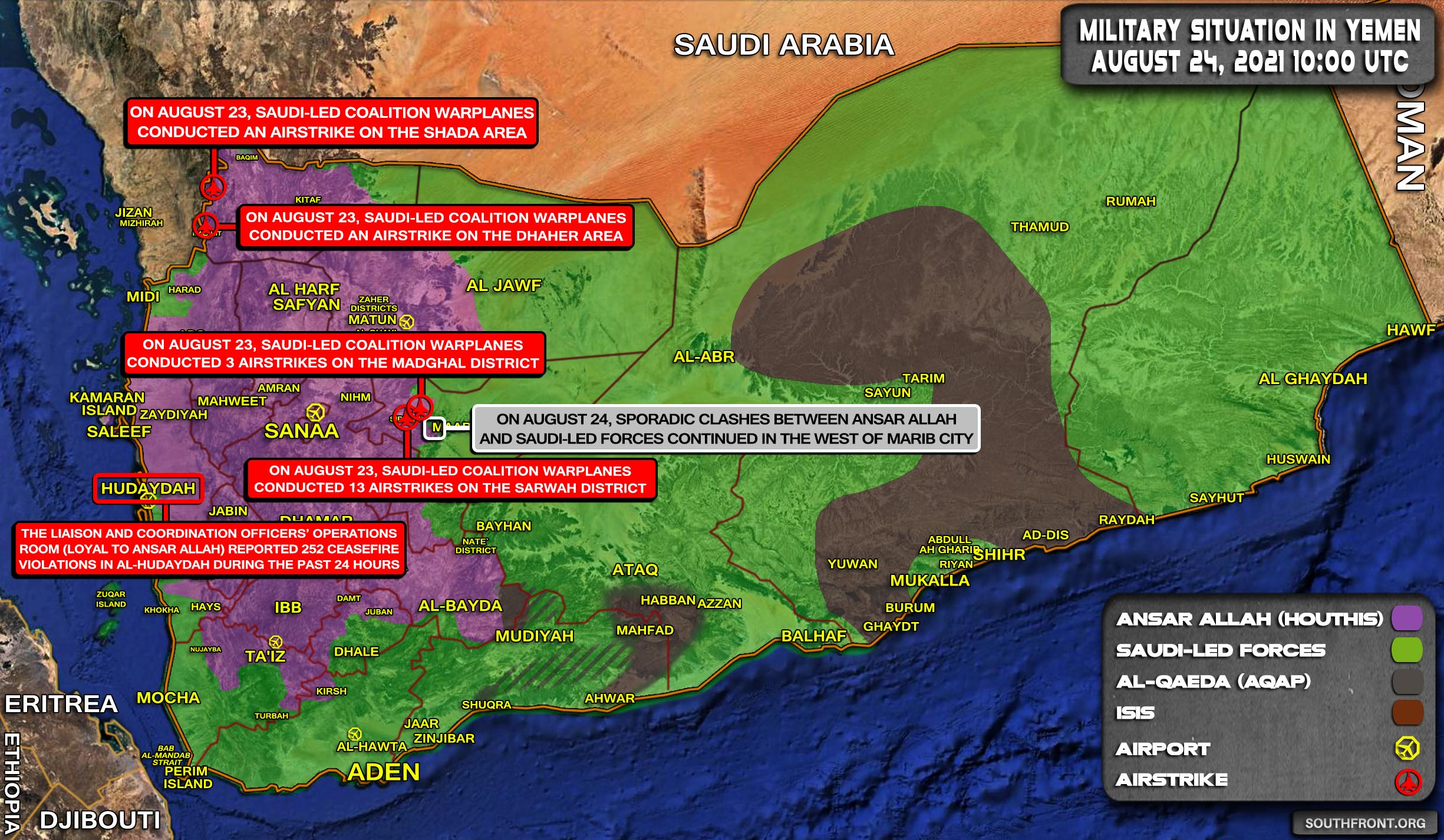 Military Situation In Yemen On August 24, 2021 (Map Update)