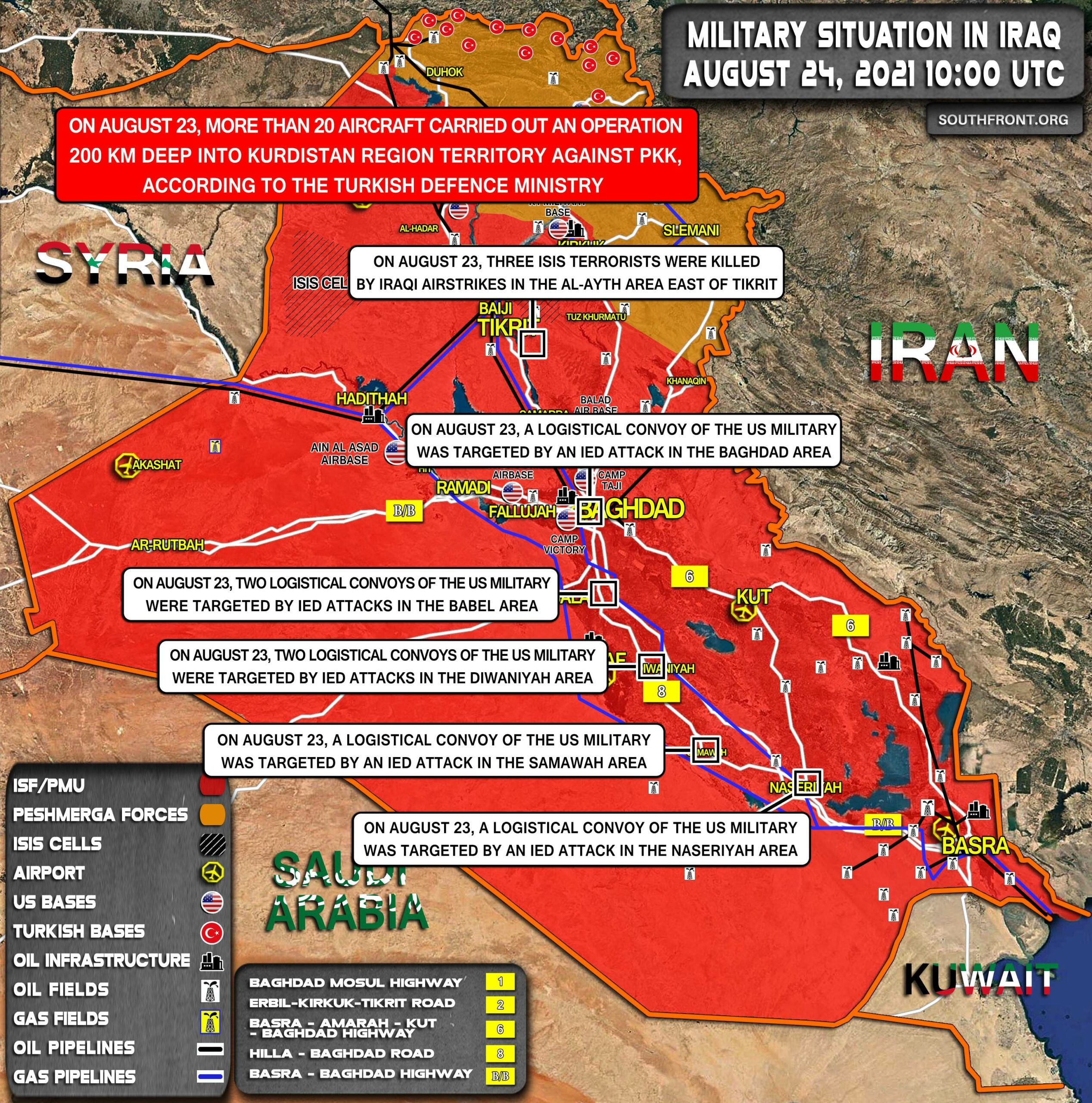Military Situation In Iraq On August 24, 2021 (Map Update)