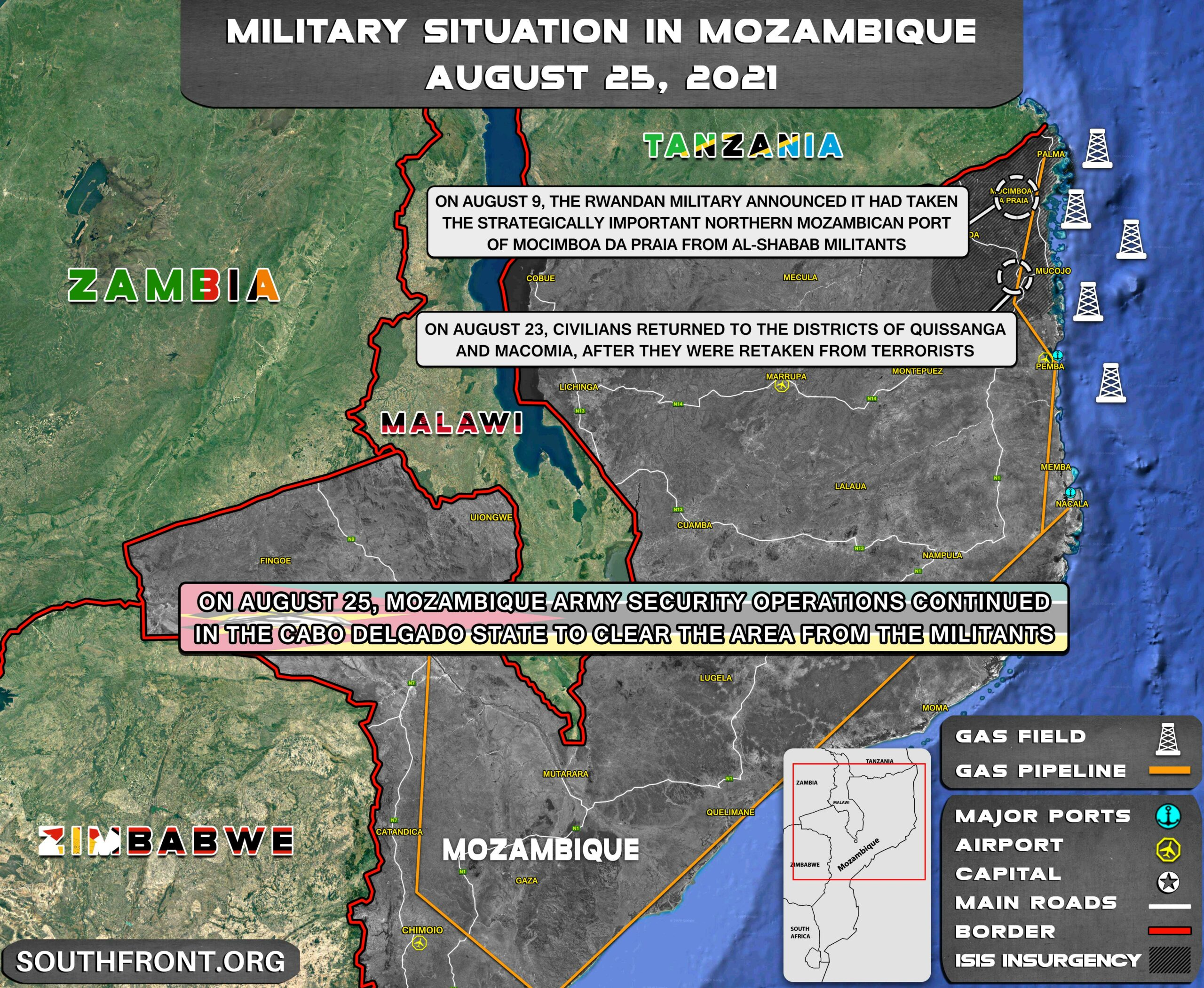 Military Situation In Mozambique On August 25, 2021 (Map Update)
