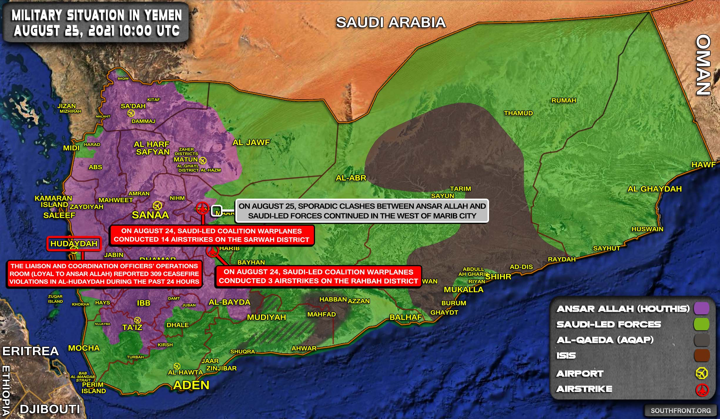Military Situation In Yemen On August 25, 2021 (Map Update)