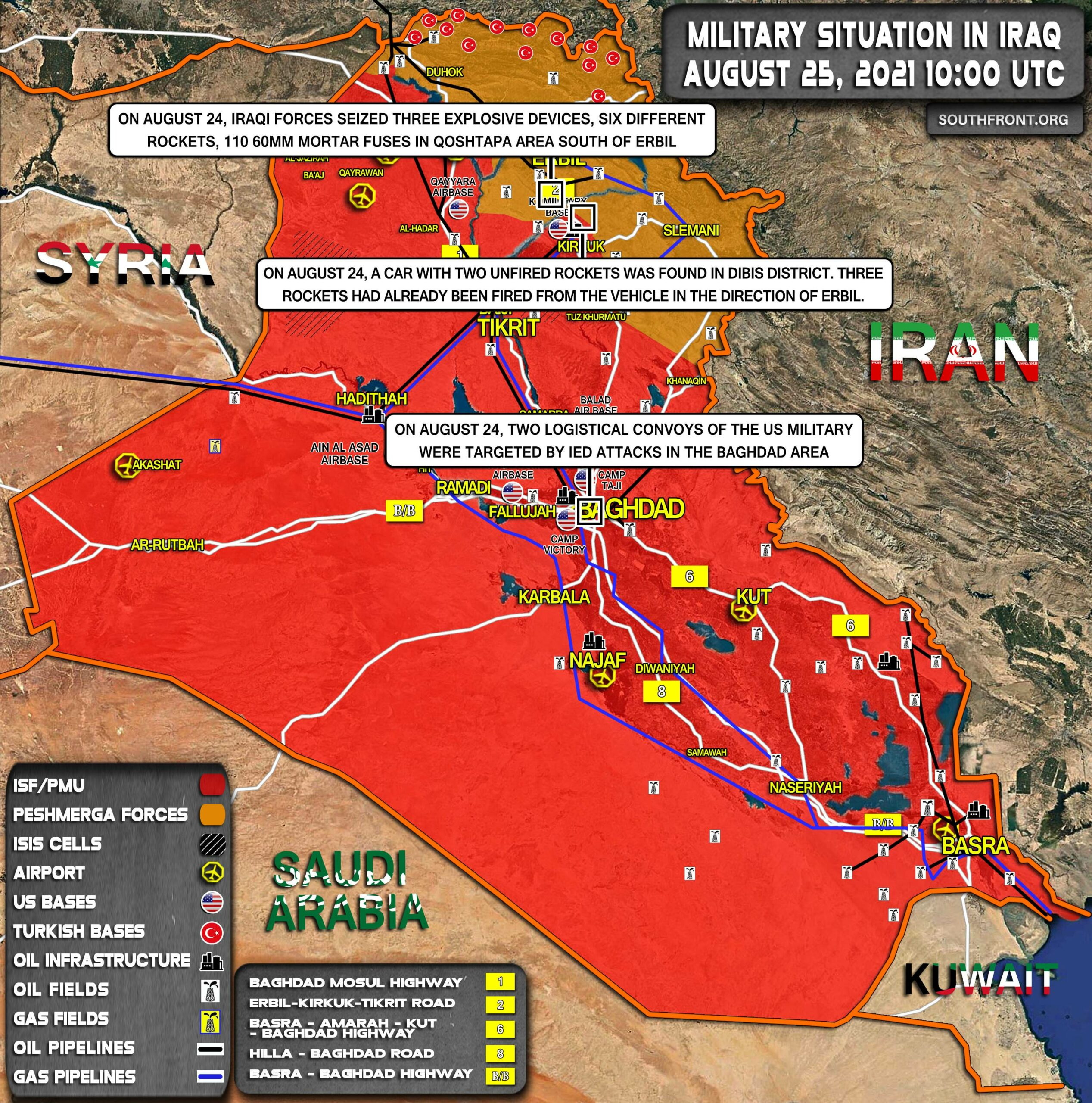 Military Situation In Iraq On August 25, 2021 (Map Update)