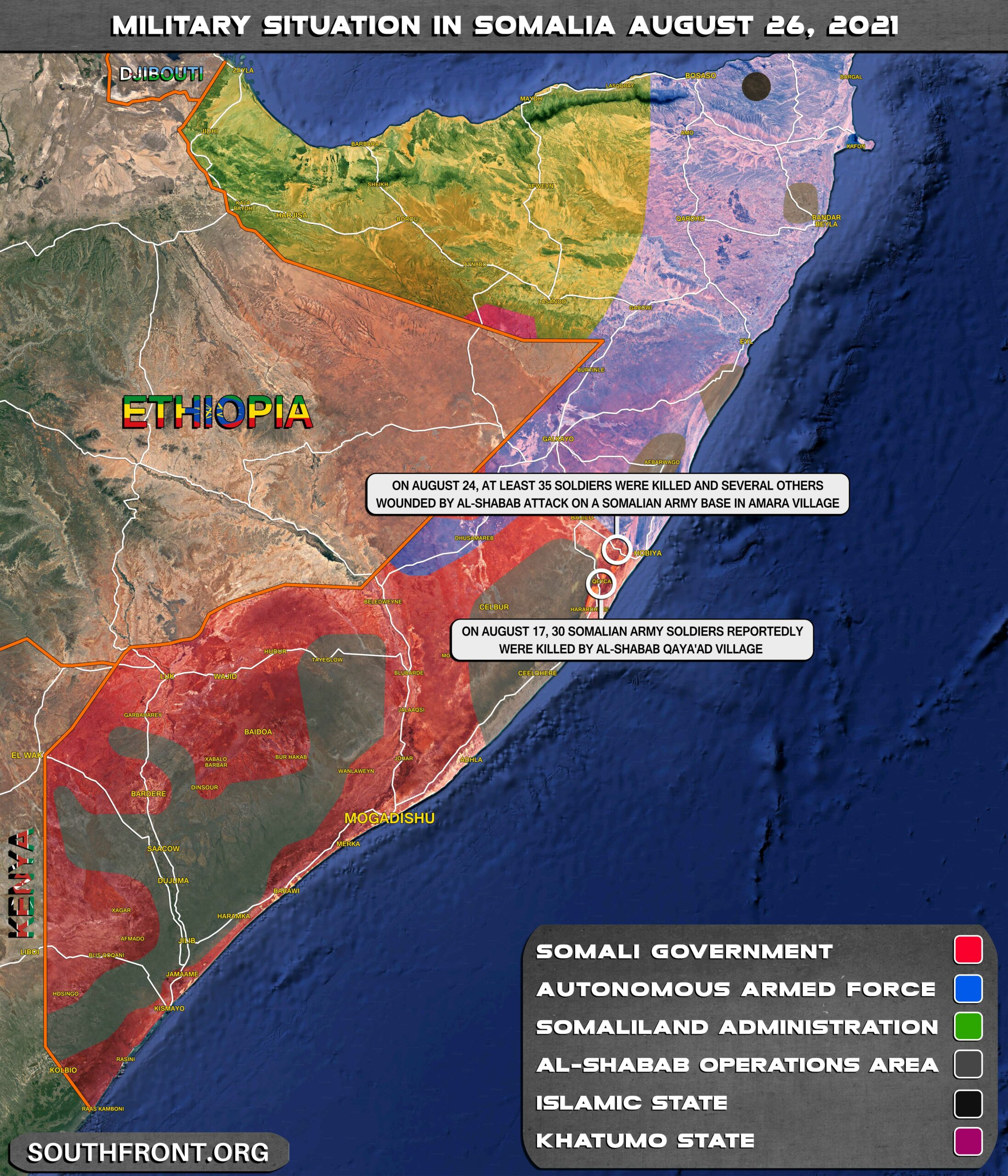 Military Situation In Somalia On August 26, 2021 (Map Update)