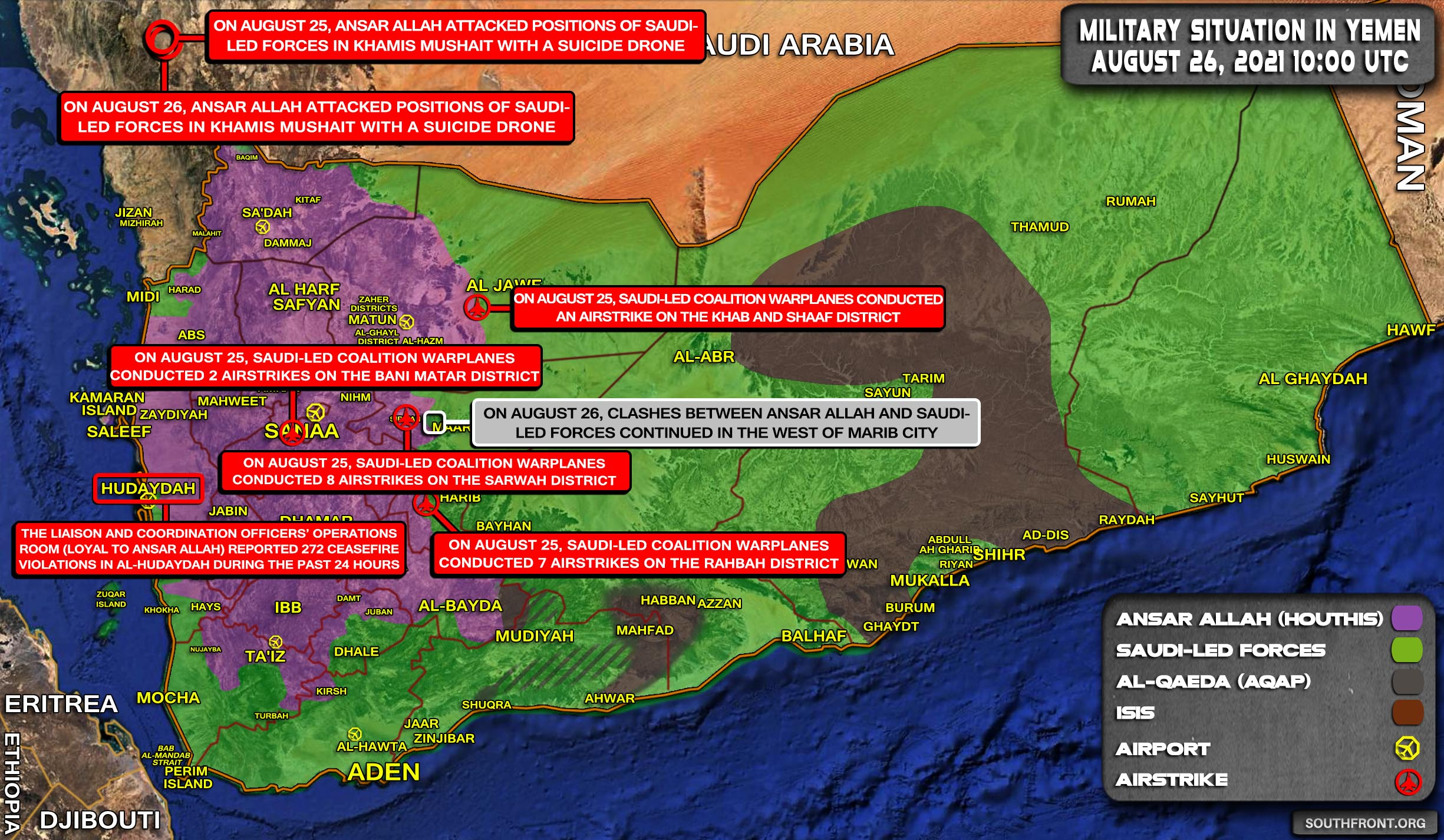 Military Situation In Yemen On August 26, 2021 (Map Update)