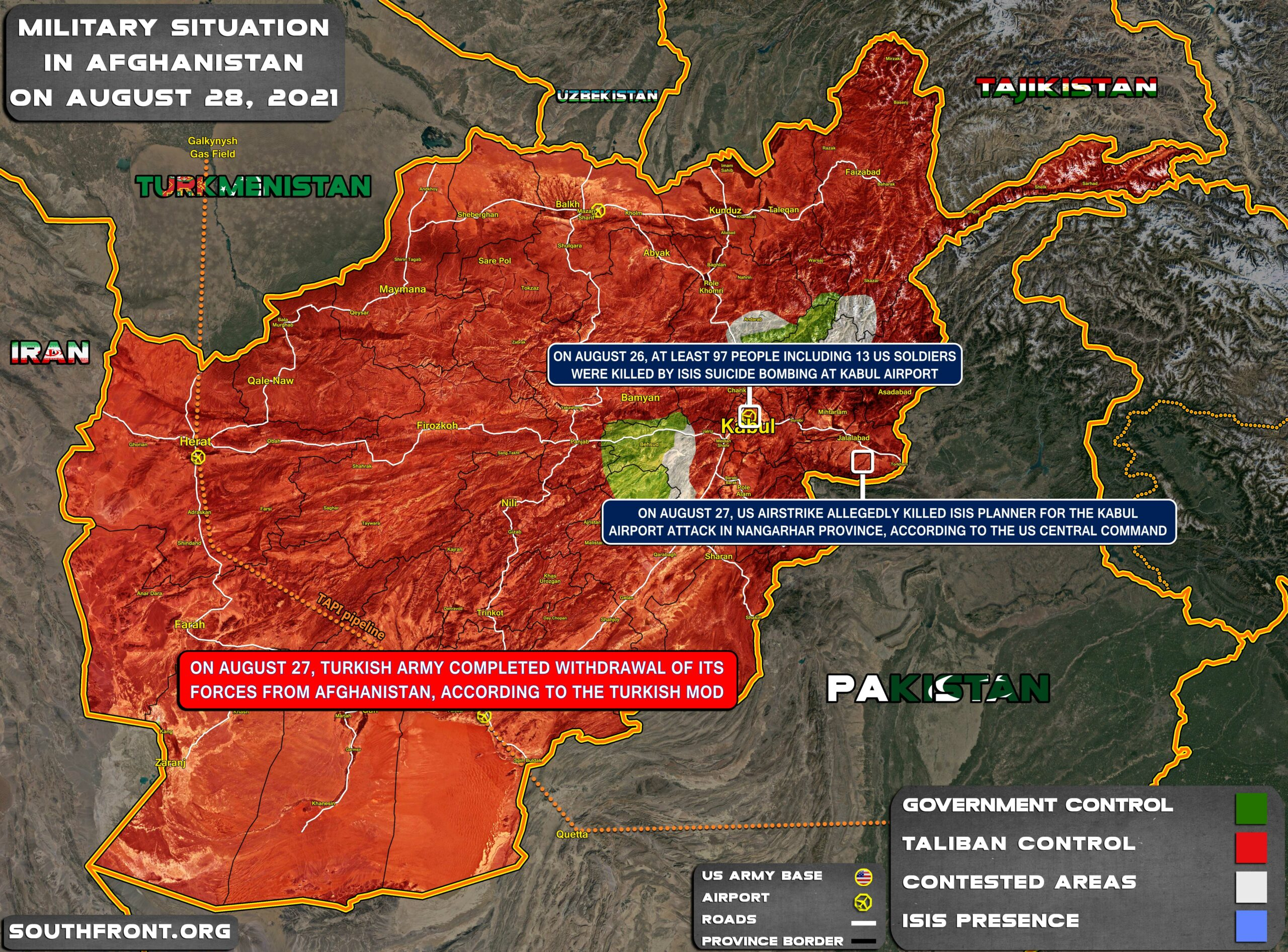 Military Situation In Afghanistan On August 28, 2021 (Map Update)